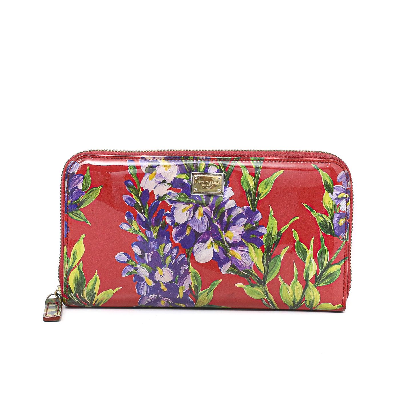 Dolce and Gabbana Red Patent Floral Print Zippy Long Wallet