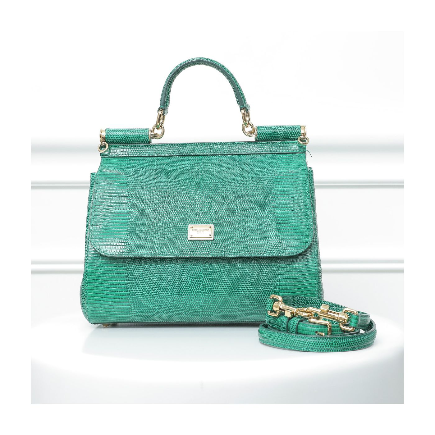 Dolce & Gabbana Green Sicily Lizard Embossed Medium Bag
