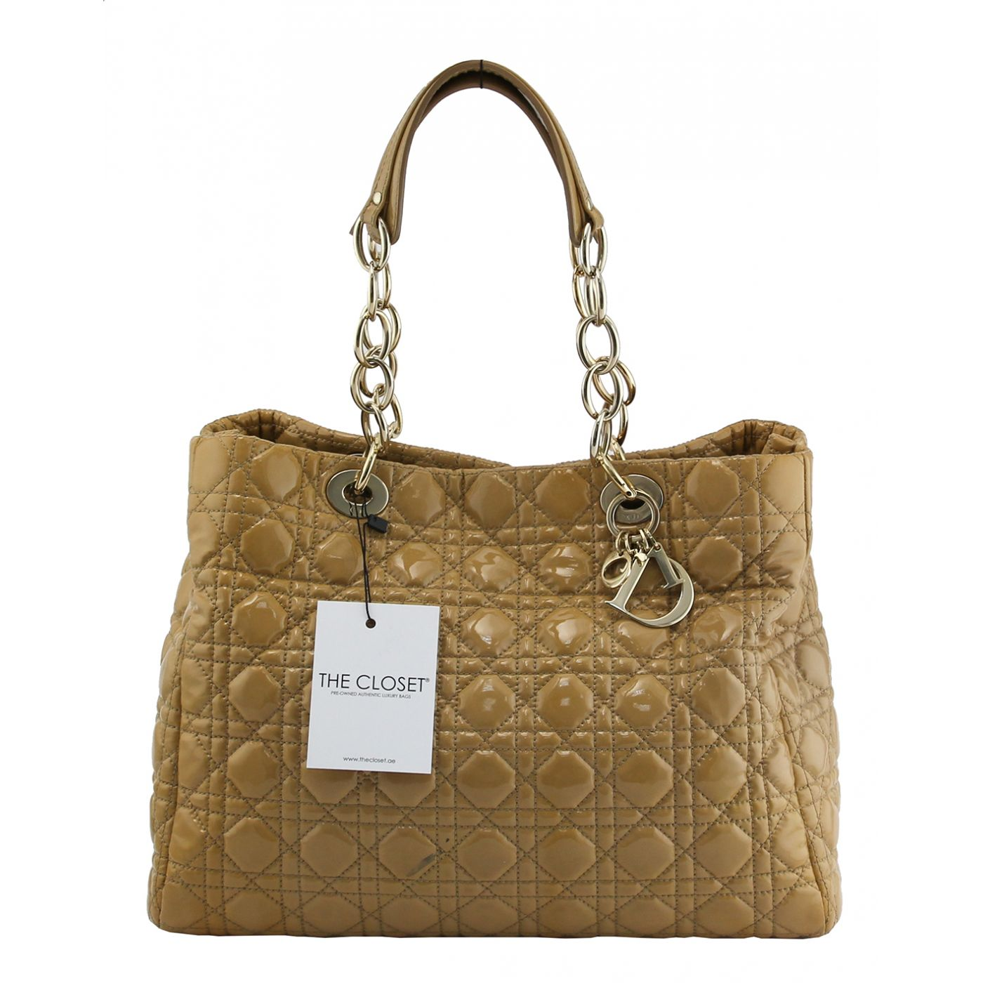 Christian Dior Beige Patent Shopping Tote