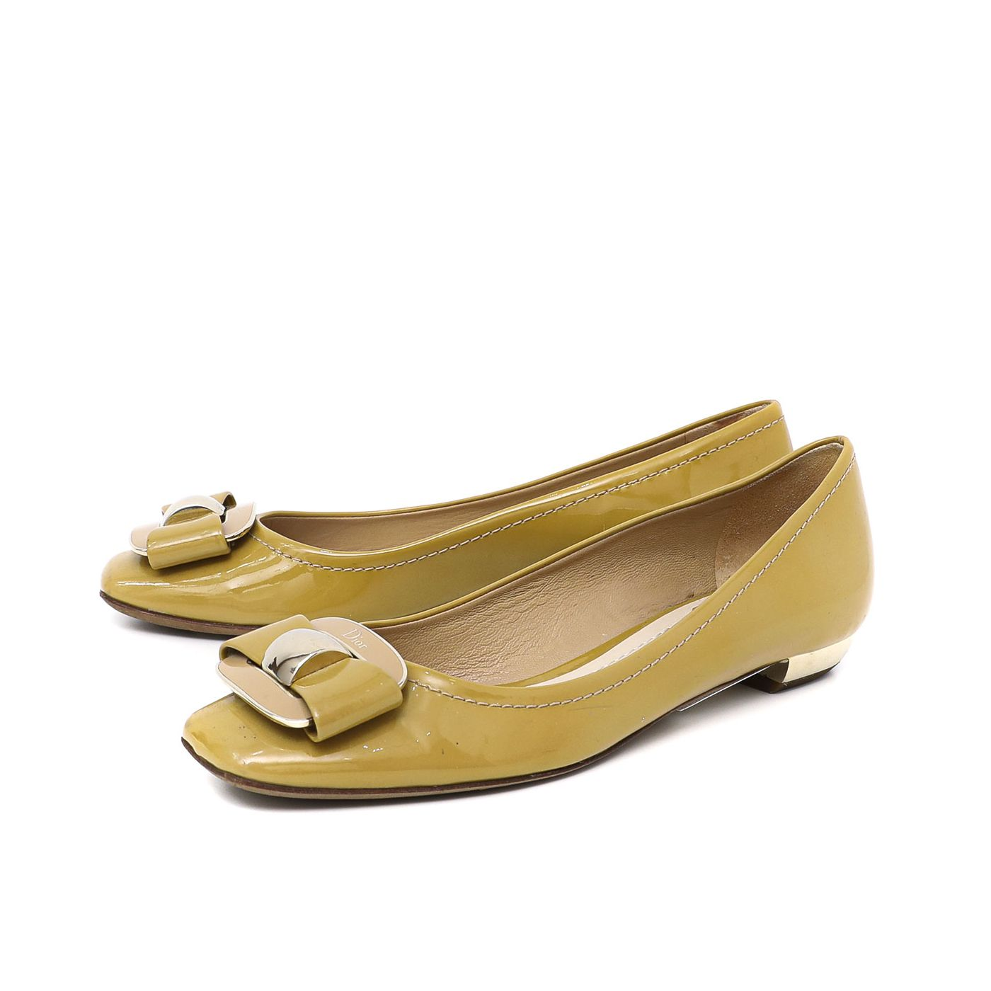 Dior Flaxen Patent Square Toe Bow Flats
