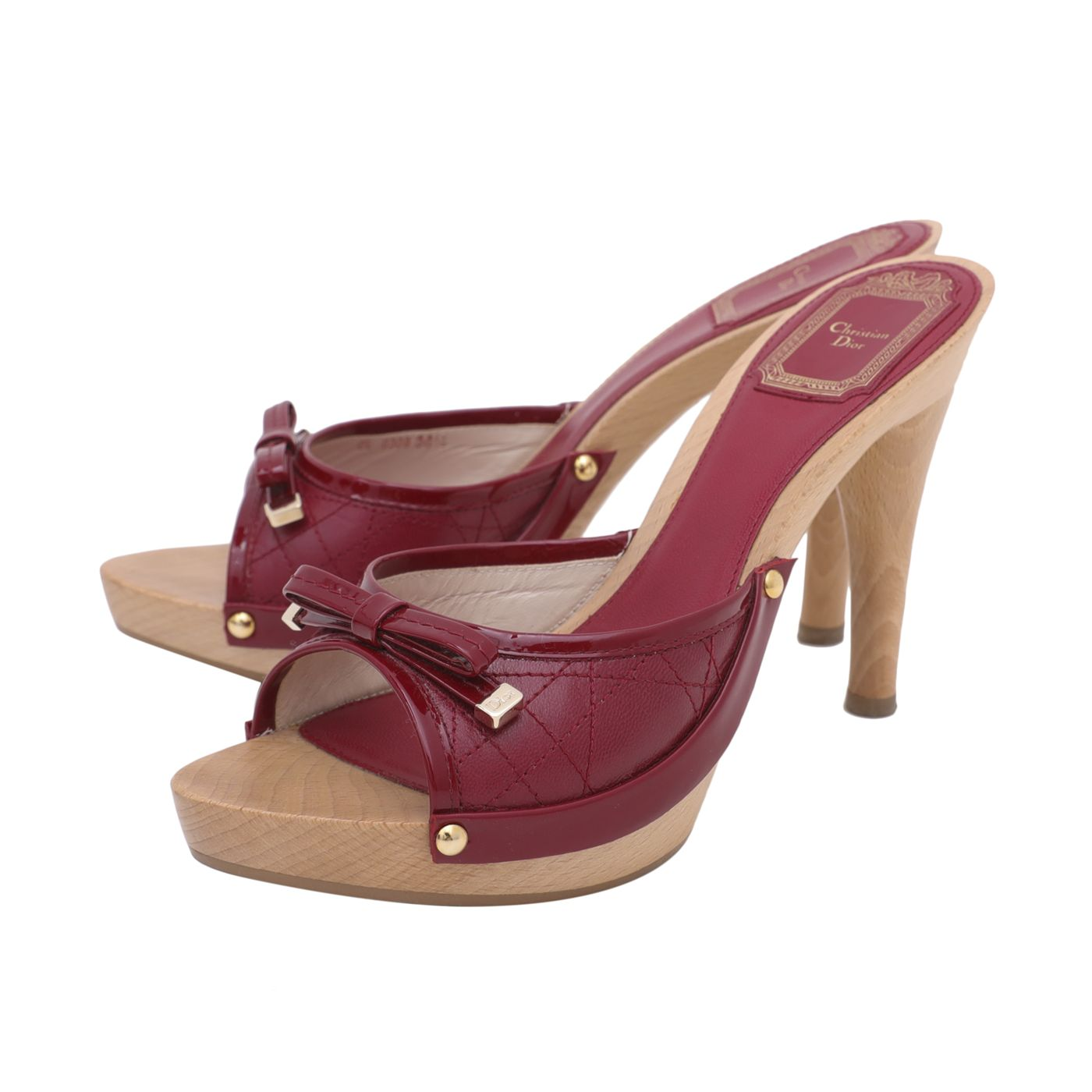 Christian Dior Cherry Cannage Bow Mule Clog Sandals 36.5