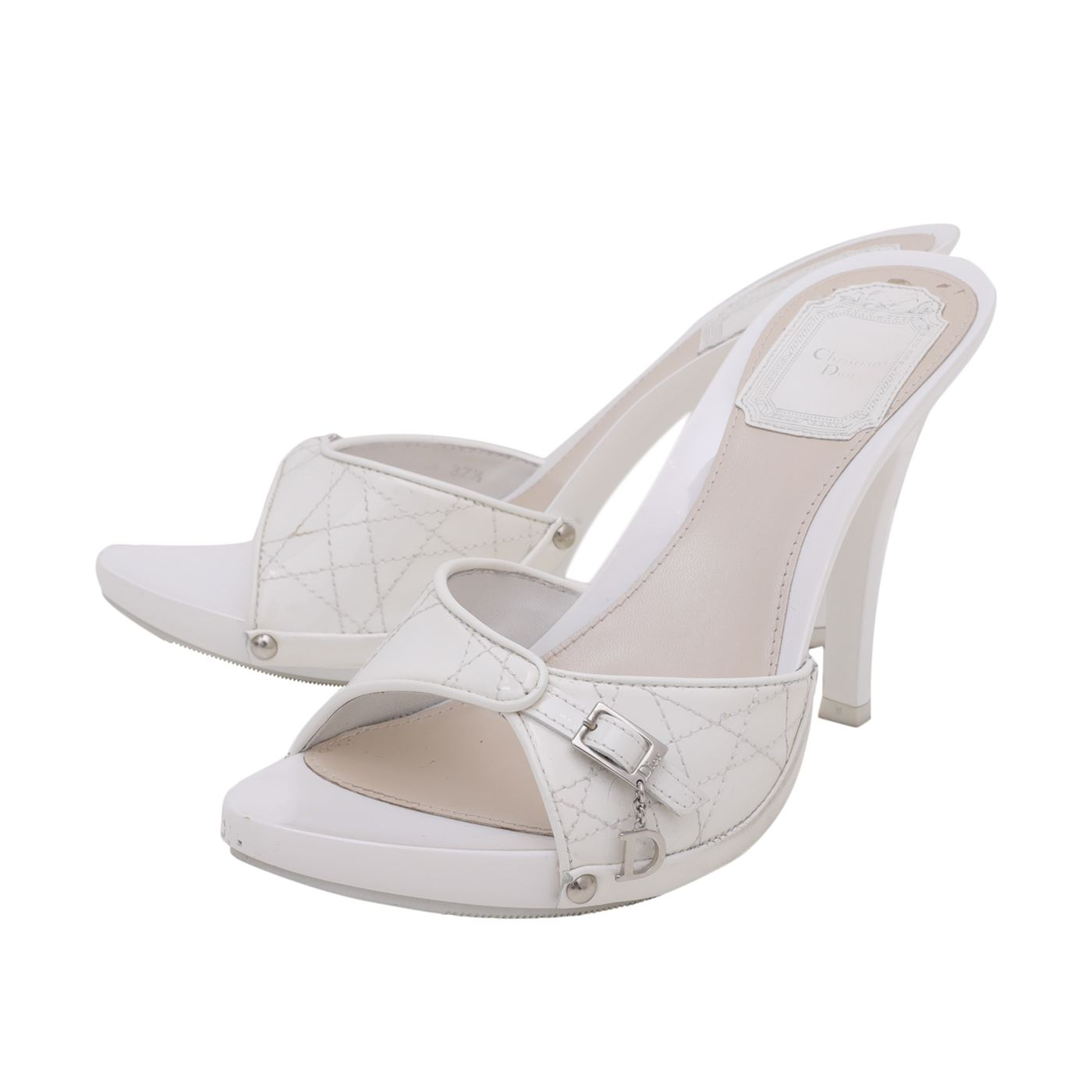 Christian Dior White Cannage Clog 10cm Sandals 37.5