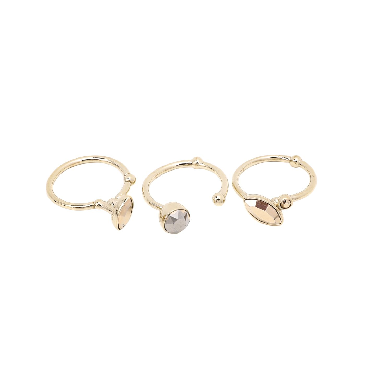 Christian Dior Gold Crystal Gold Tone Set Of 3 Rings Medium