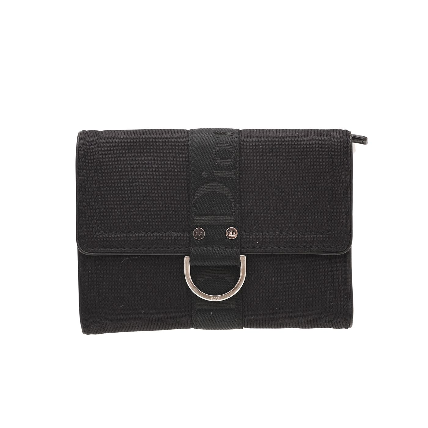 Christian Dior Black D Ring Jersey French Wallet