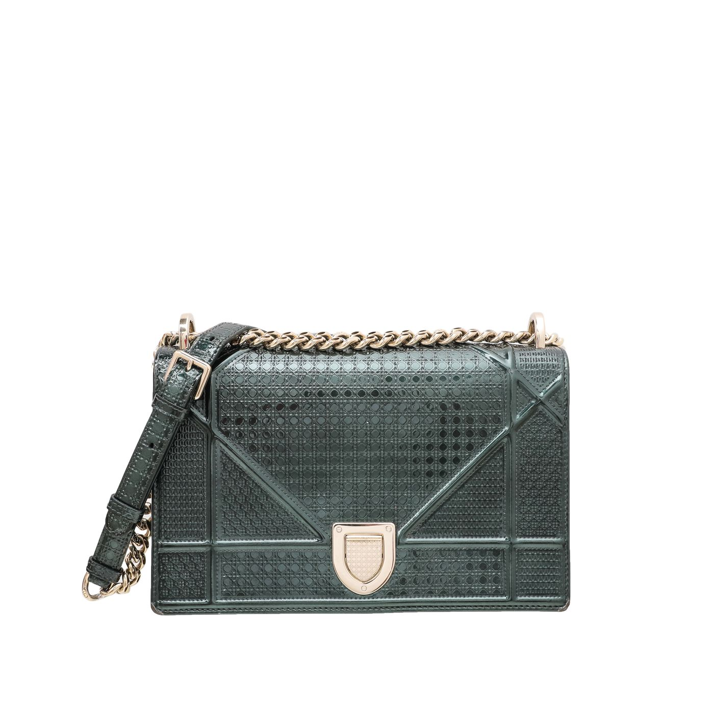 Christian Dior Emerald Green Diorama Micro Cannage Shoulder Bag
