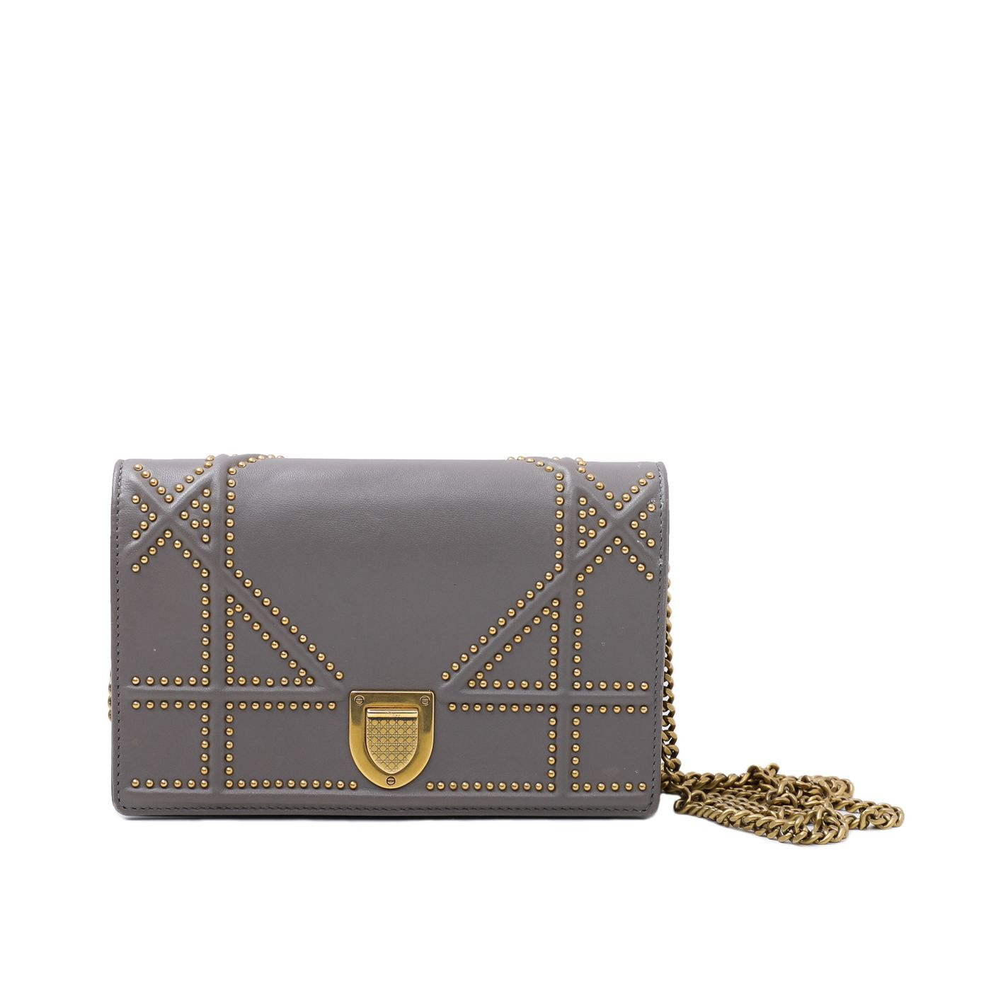Christian Dior Iron Gray Diorama Studded WOC Pouch