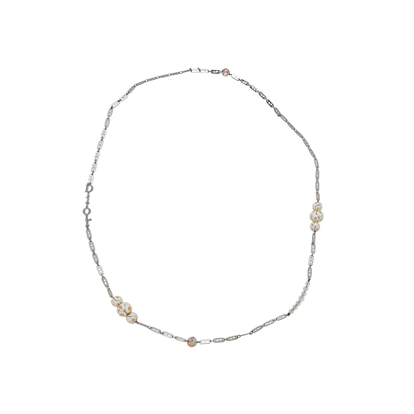 Christian Dior Heart Link Chain W/ Flower Resin Long Necklace