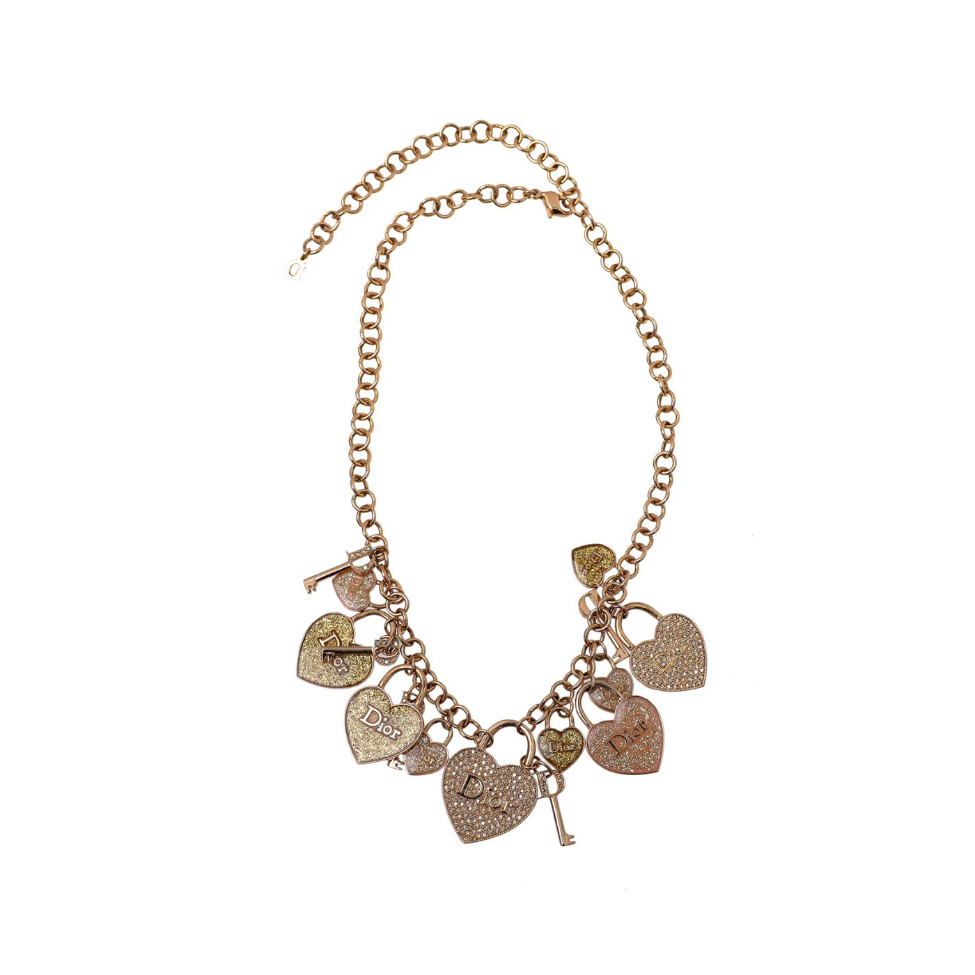 Christian Dior Gold Tone Heart Lock and Keys Charm Necklace