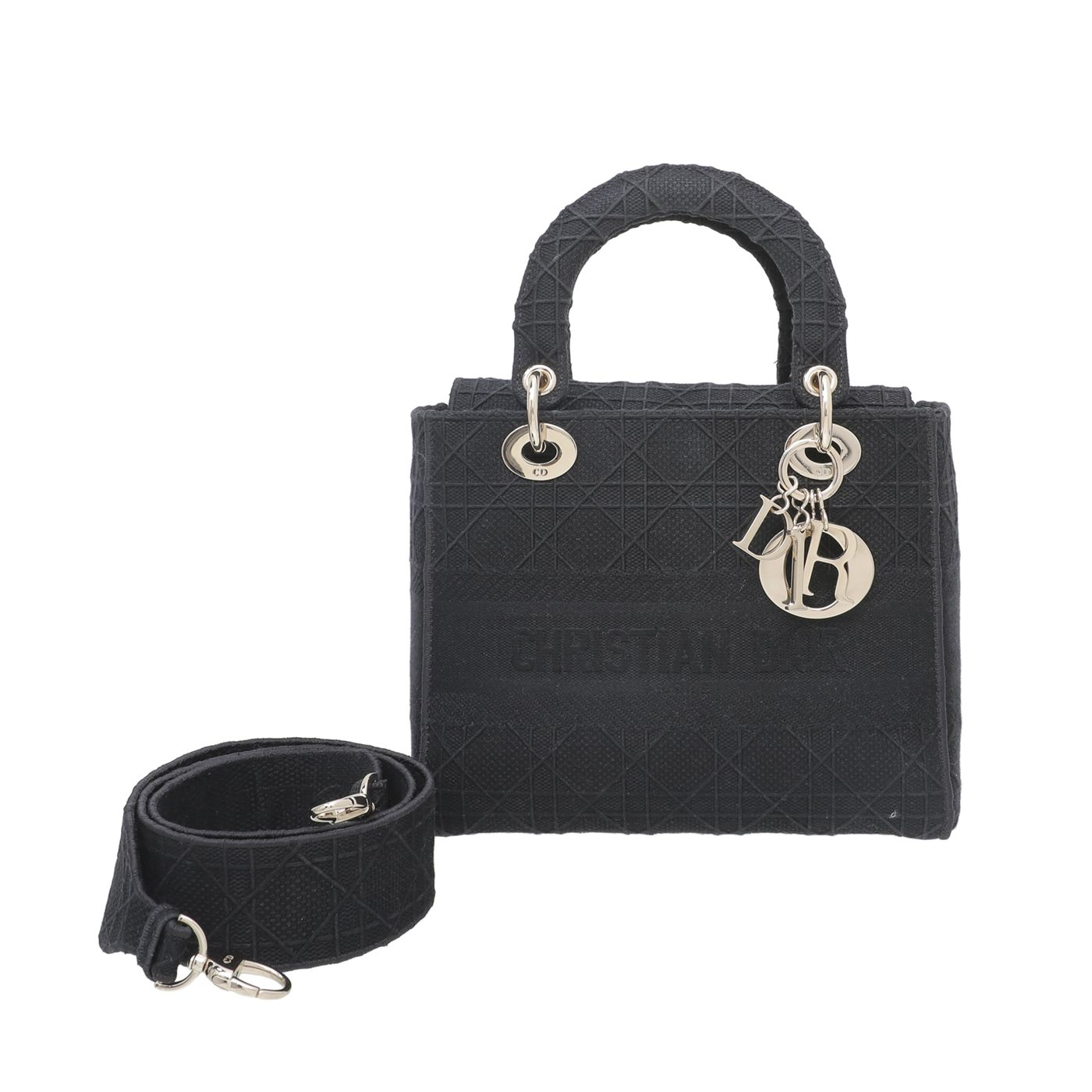 Christian Dior Black Cannage Embroidery Lady D-Lite Bag