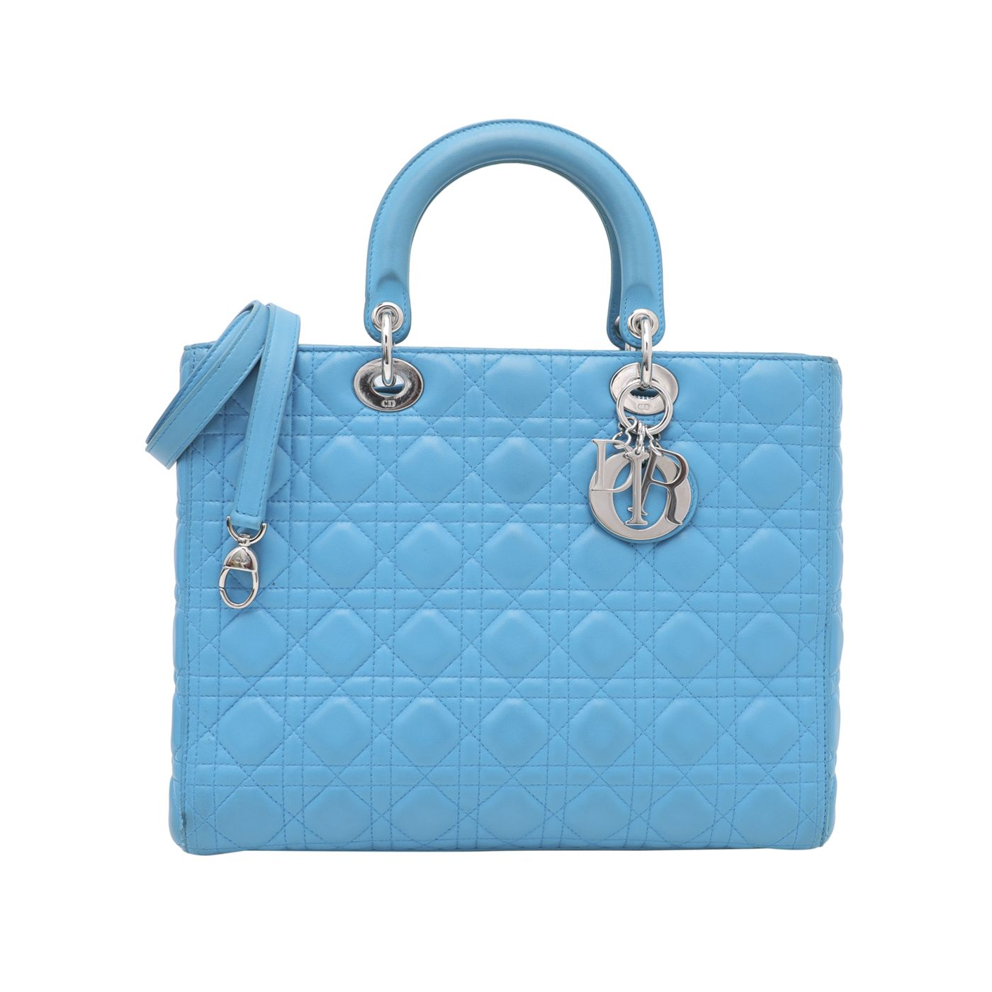 Christian Dior Turquoise Lady Dior Large Bag