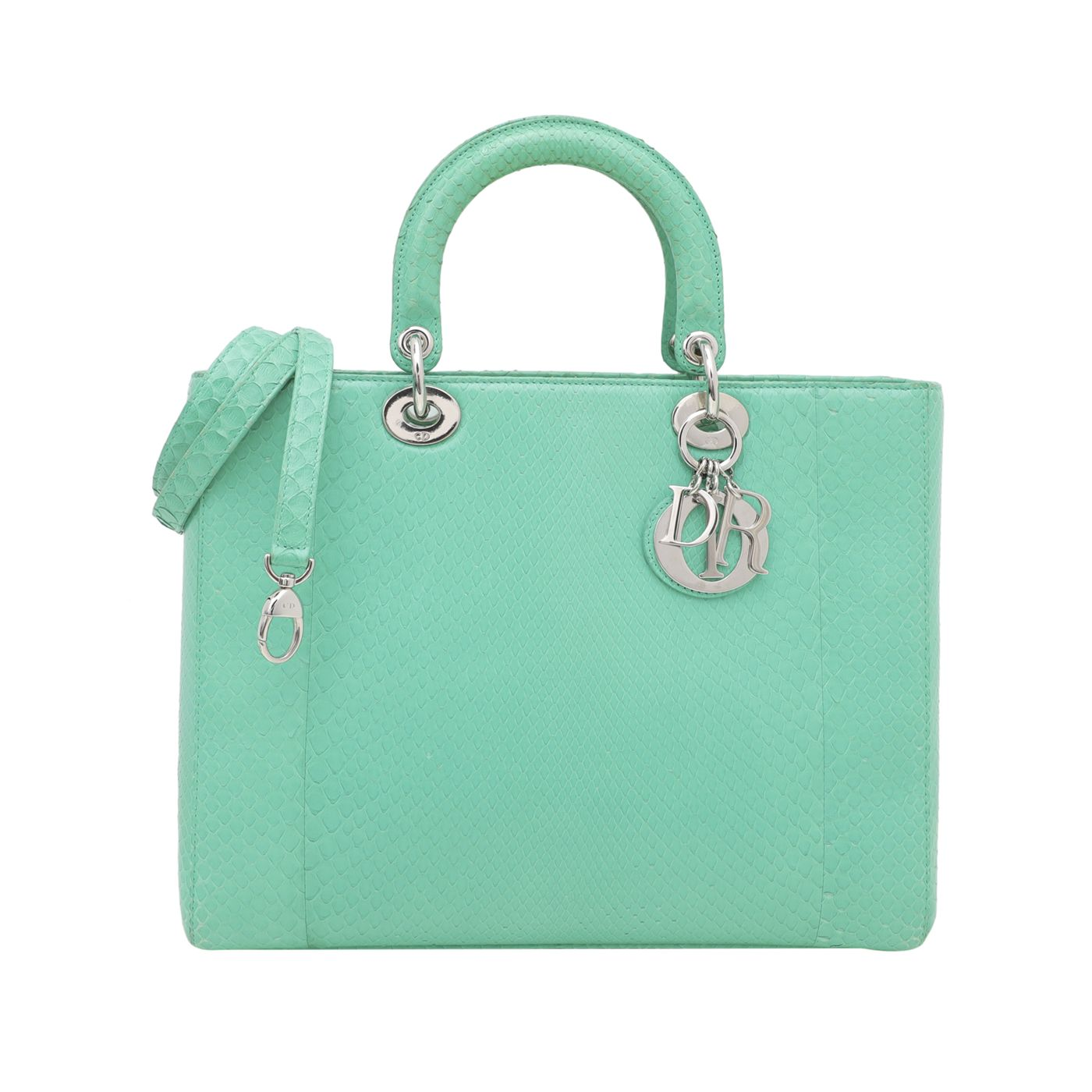 Christian Dior Green Python Lady Dior Large Bag