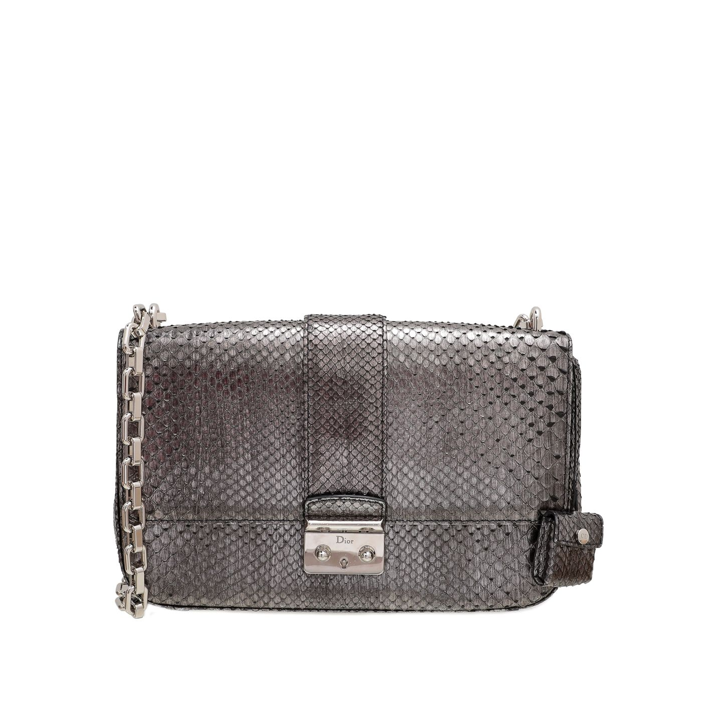 Christian Dior Metallic Grey Python Miss Dior Bag