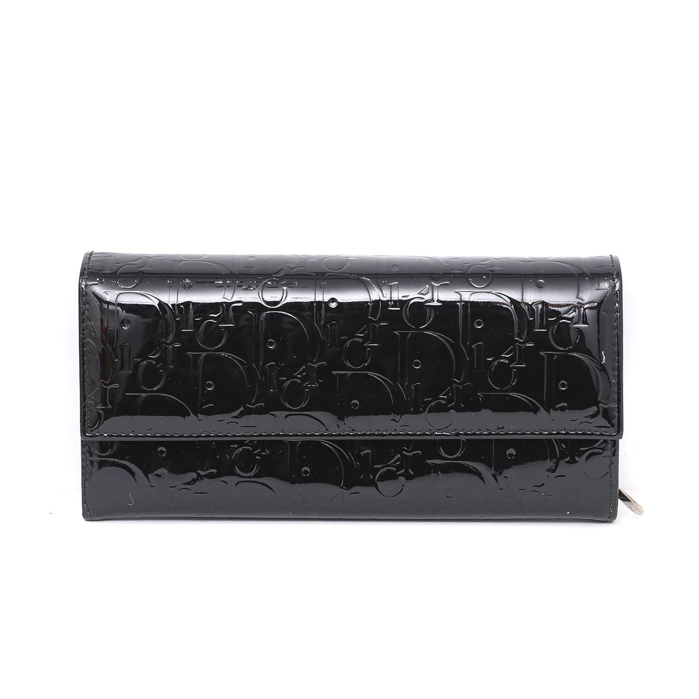 Dior monogram flap long wallet black
