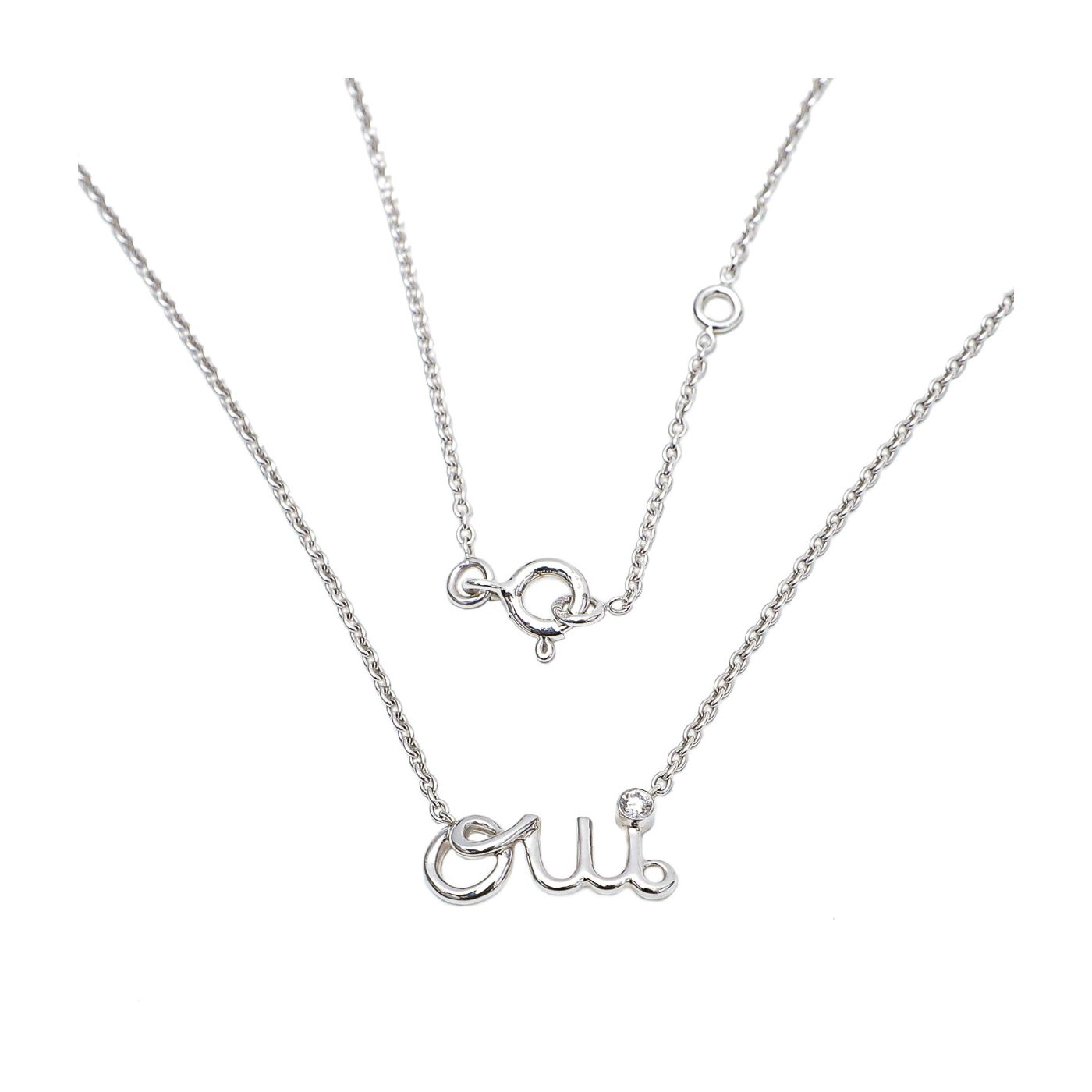 Christian Dior 18K White Gold with Diamond Oui Necklace