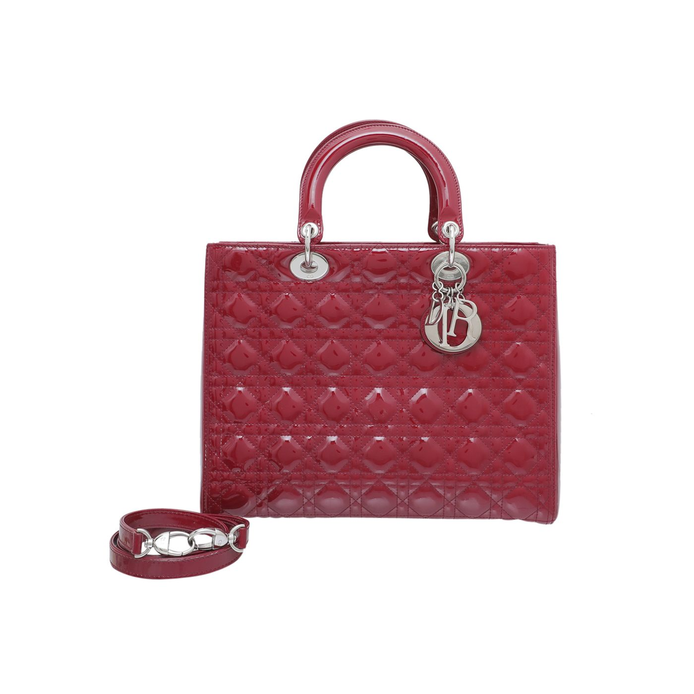 Christian Dior Red Lady Dior Large Bag