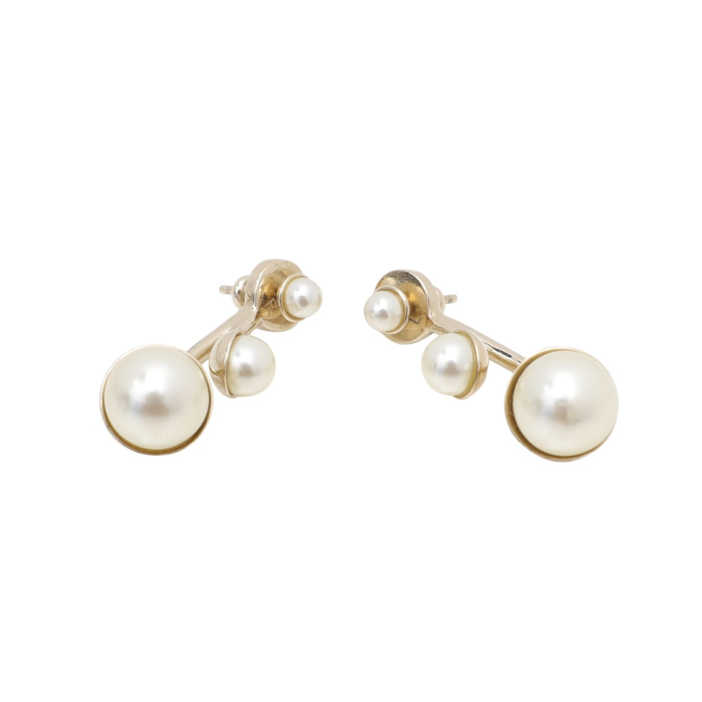 Christian Dior White Pearls Tribales Earrings