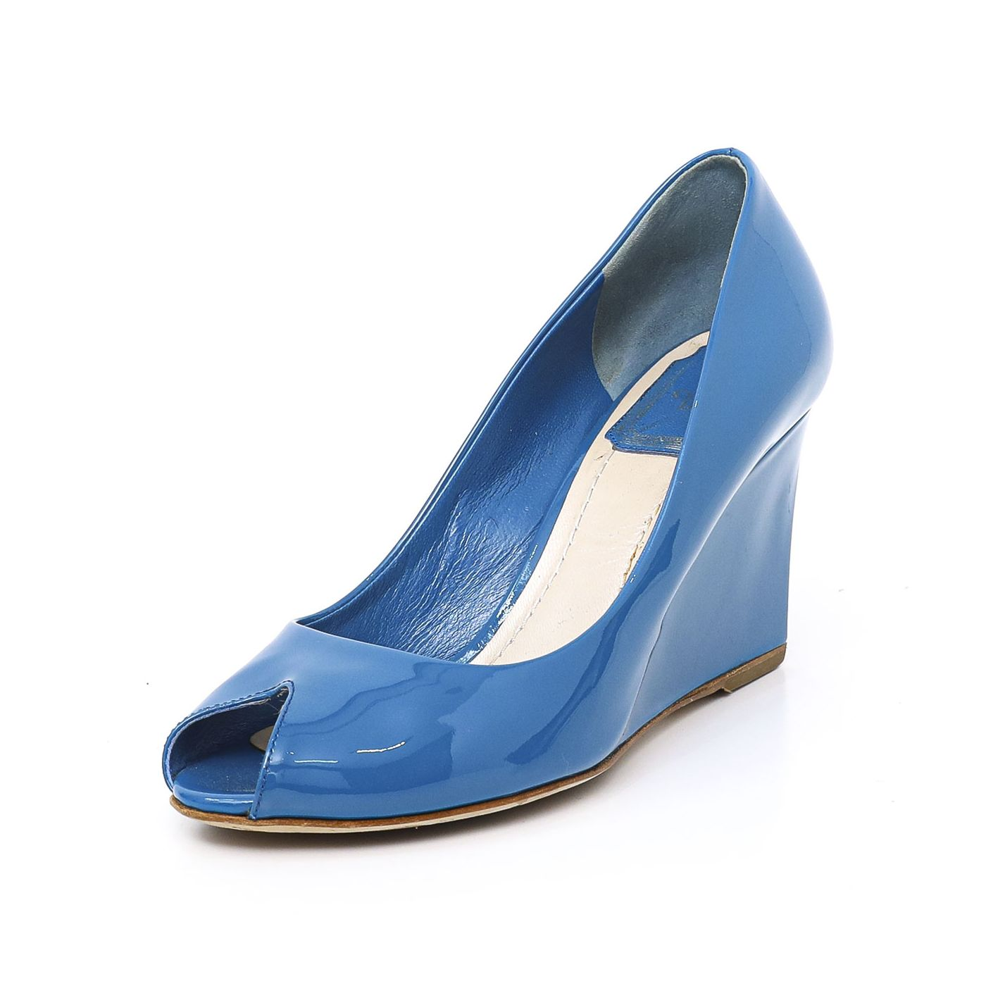 Christian Dior Blue Peeptoe Wedge 36