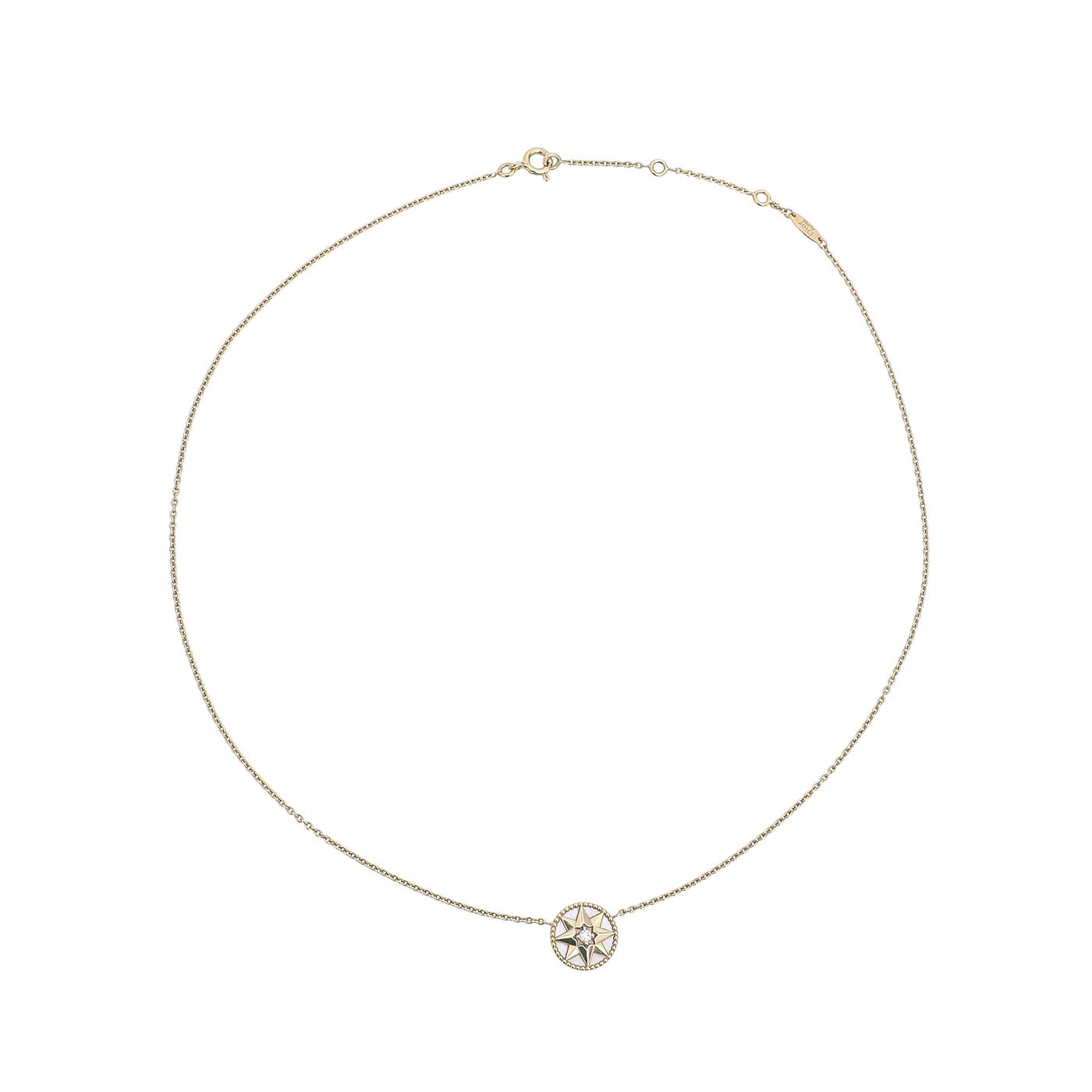 Christian Dior 18K Yellow Gold W/ Diamond Rose Des Vents Necklace