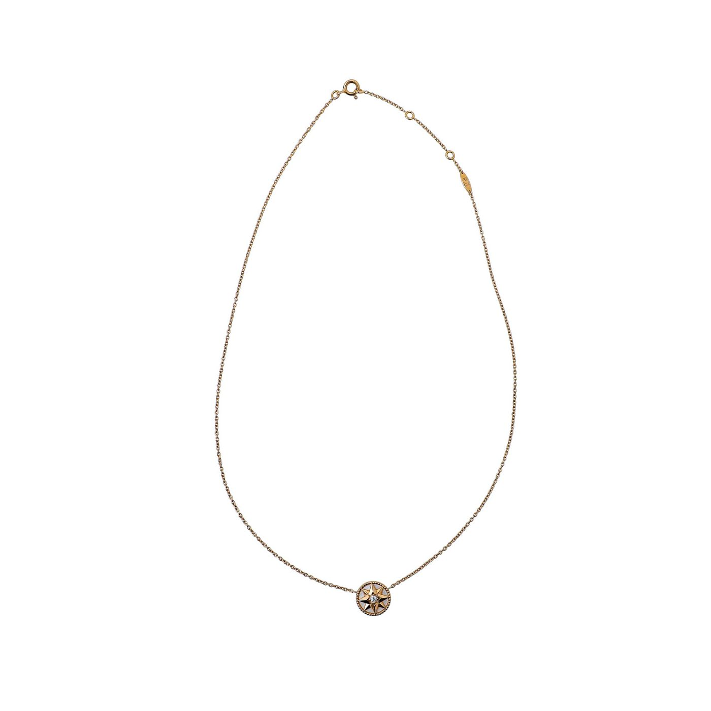 Christian Dior 18K Yellow Gold MOP Rose Des Vents Necklace