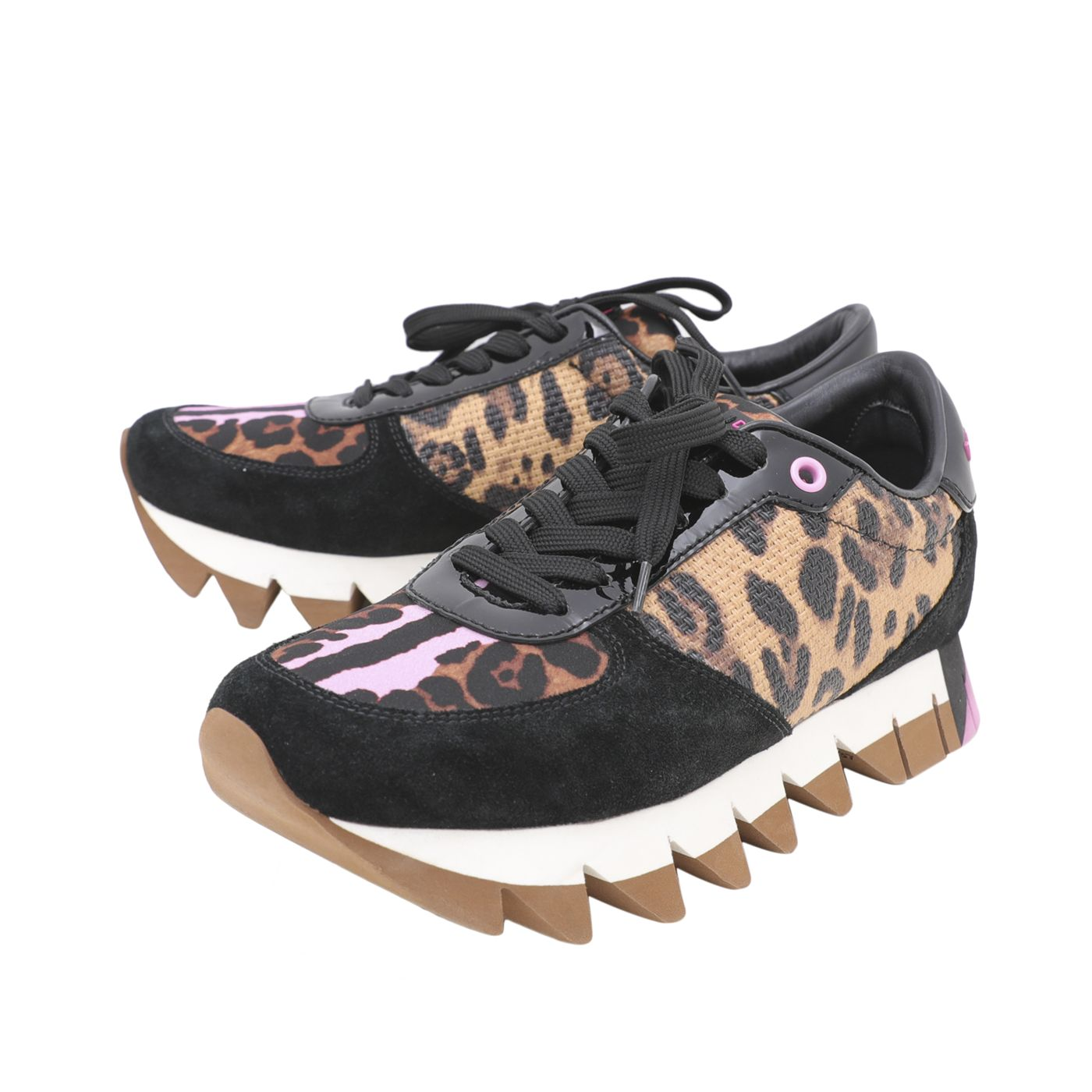 Dolce and Gabbana Leopard Print Suede Lace Sneakers 37