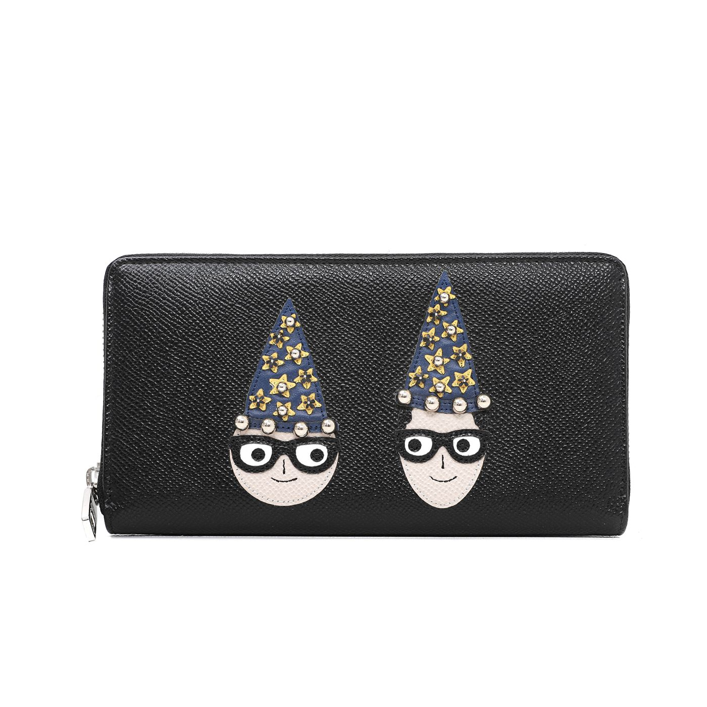 Dolce & Gabbana Black Family Zip Around Wallet