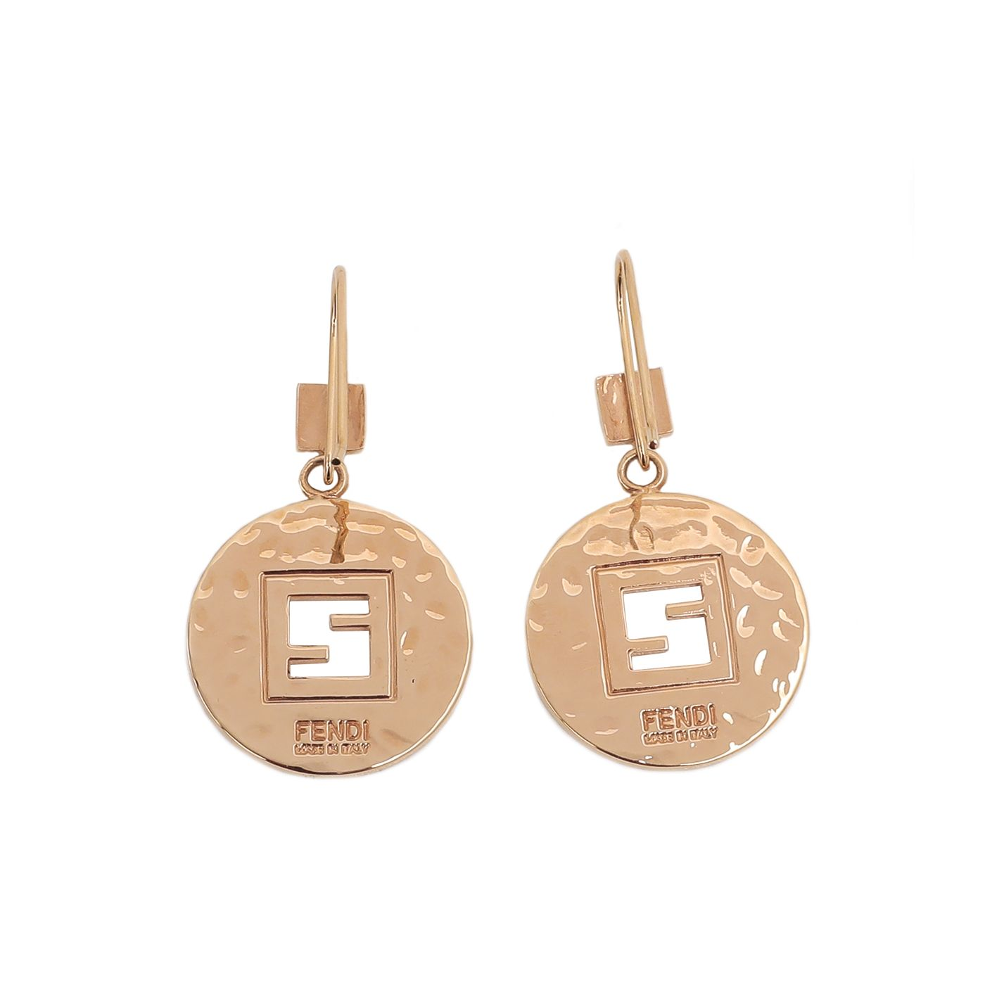 Fendi Gold Tone Circular Cut Out Logo Drop Hook Earring