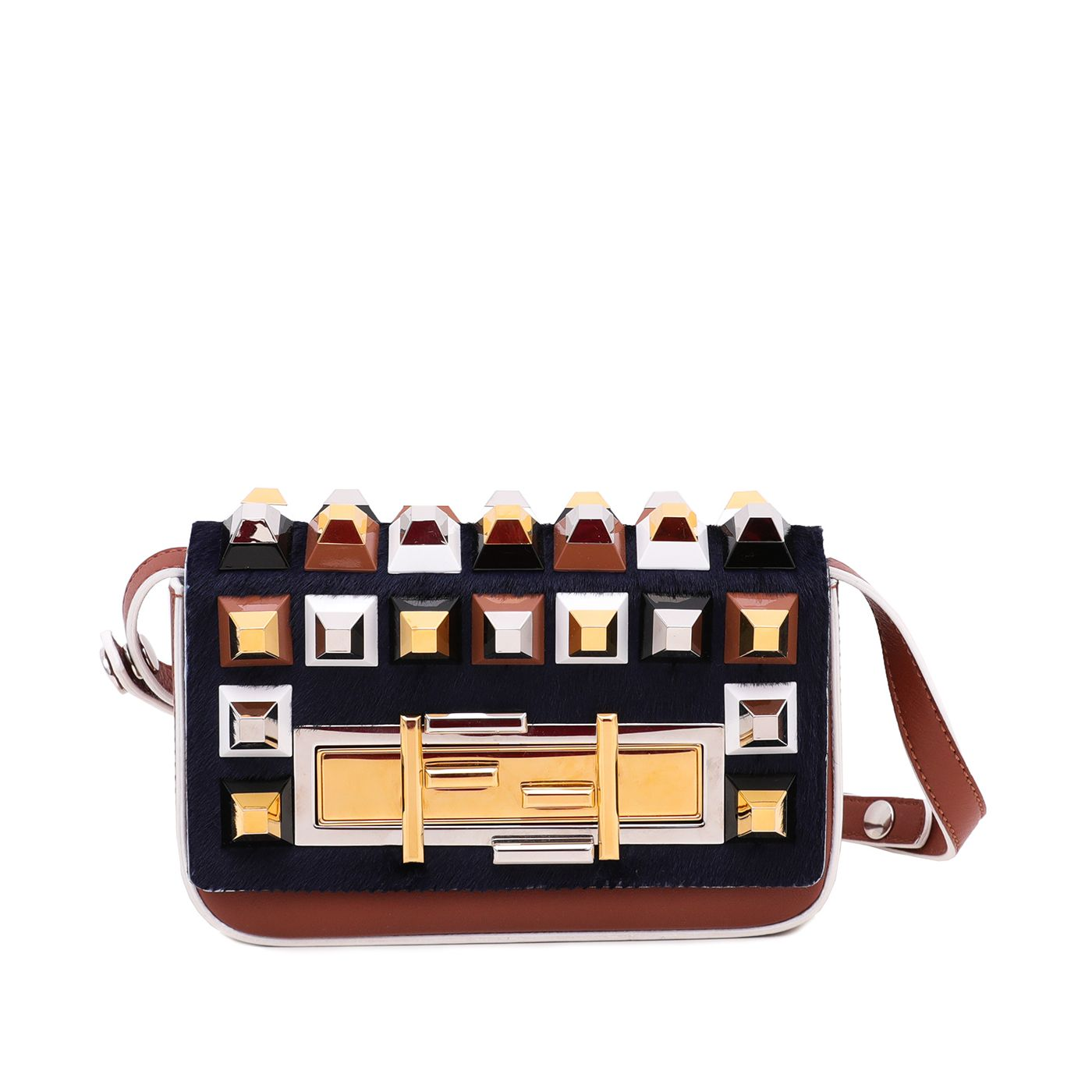 Fendi Bicolor Dolce Studded 3 Baguette Vitello Hair Bag Mini