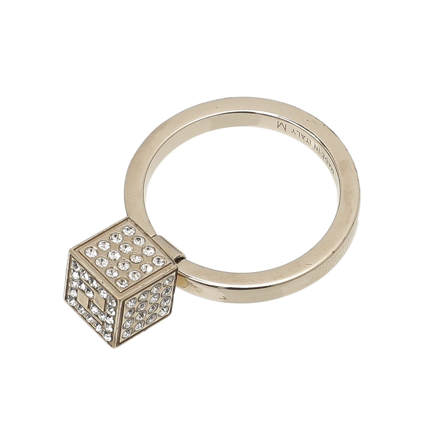 Fendi Yellow Gold With Rhinestone FF Cube Ring Medium