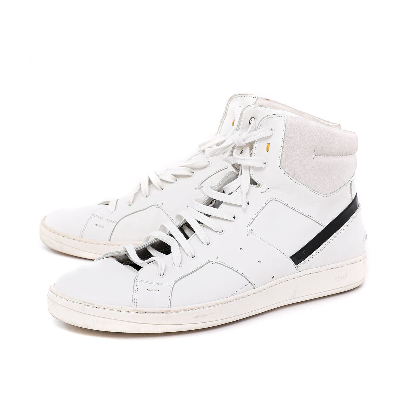 Fendi White Hi Top Sneakers 43