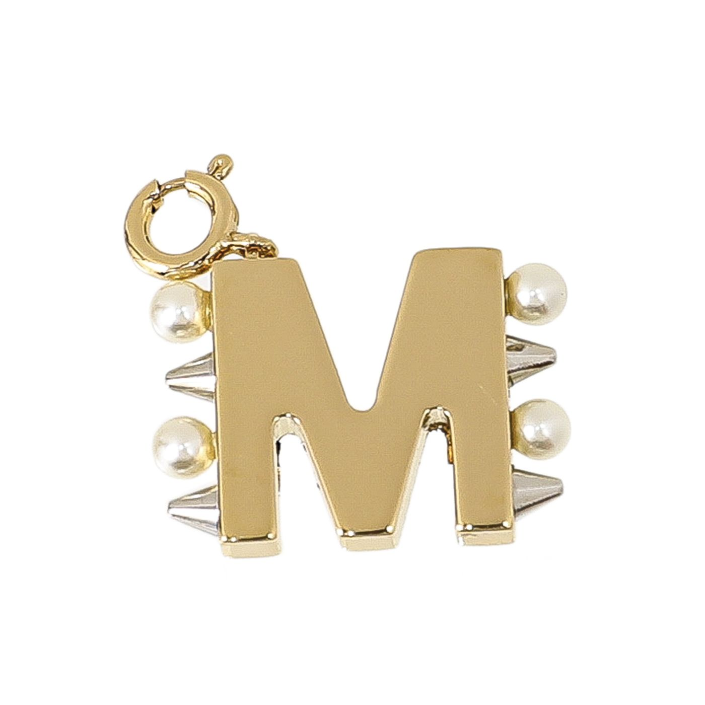 """Fendi Gold Tone """"M"""" Top Initial Charm Necklace"""
