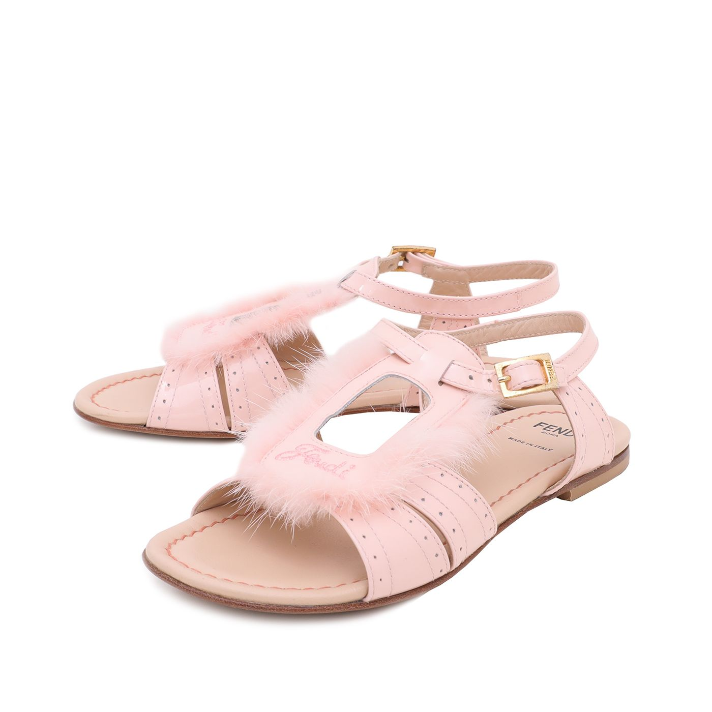 Fendi Pink Fur Kids Sandals 35