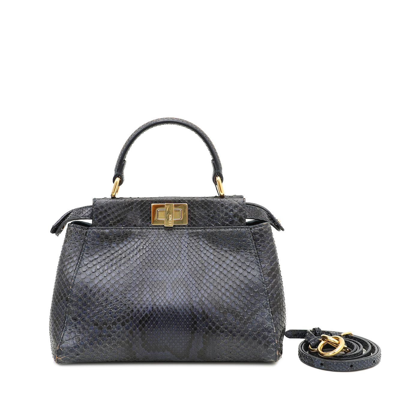 Fendi Blue Python Peekaboo Mini Bag