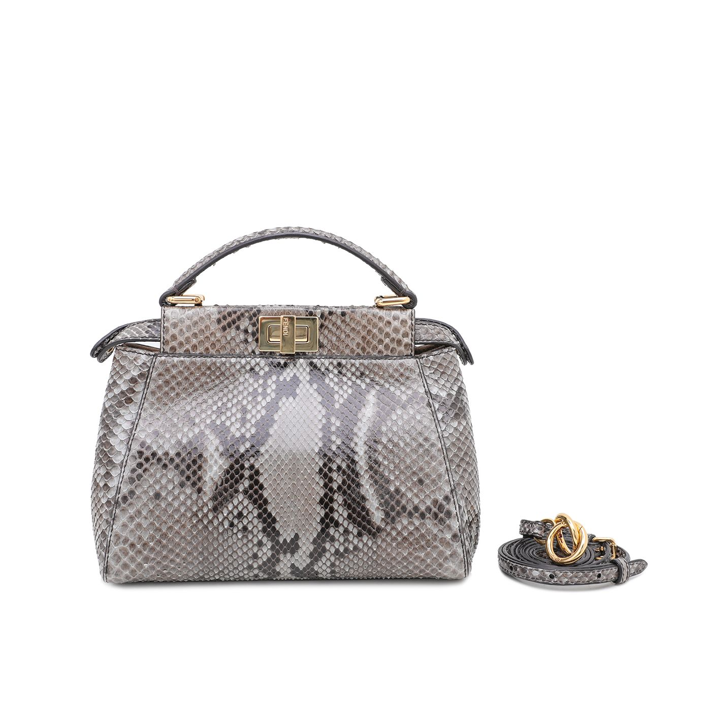 Fendi Gray Python Peekaboo Mini Bag