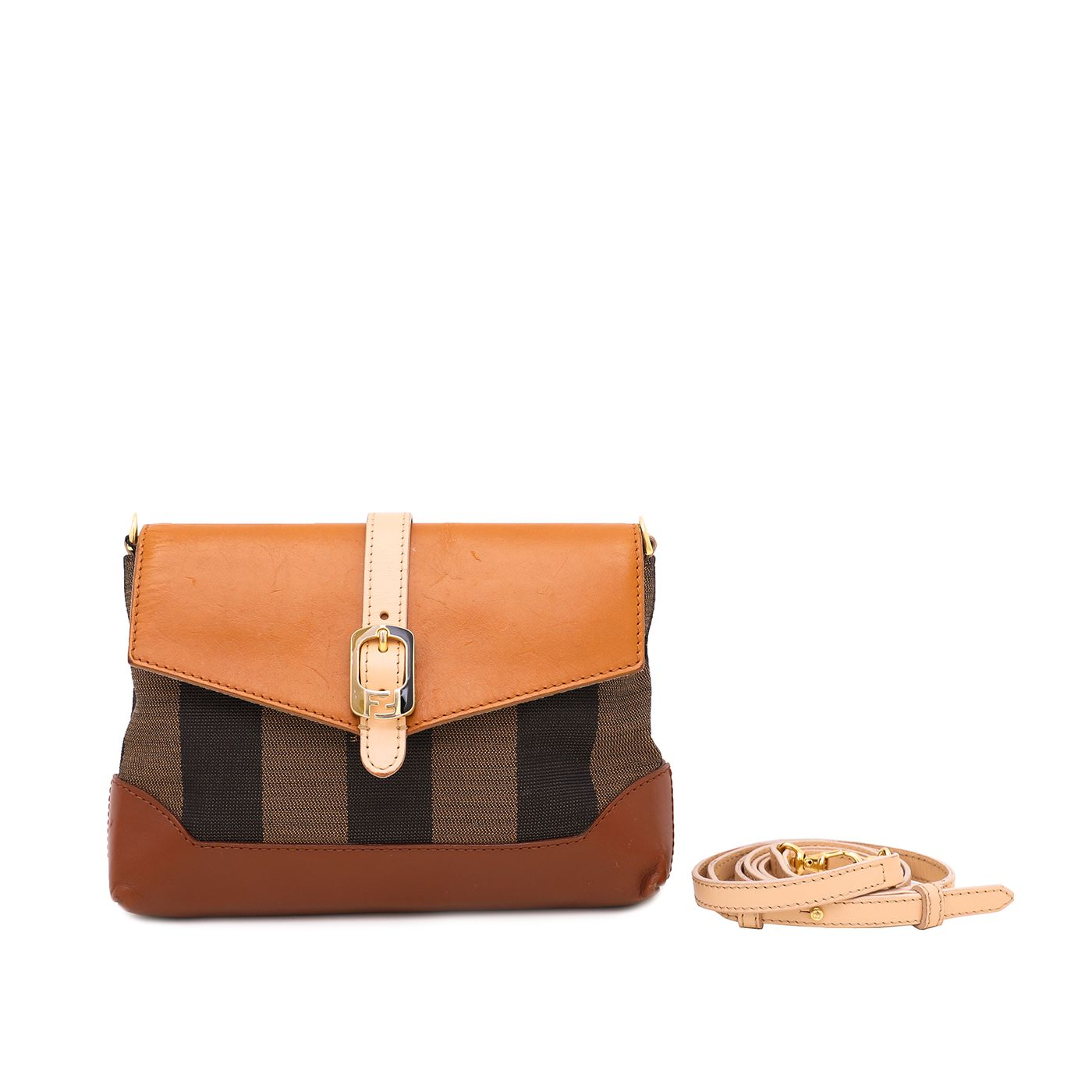 Fendi Brown Pequin Mini Crossbody Bag