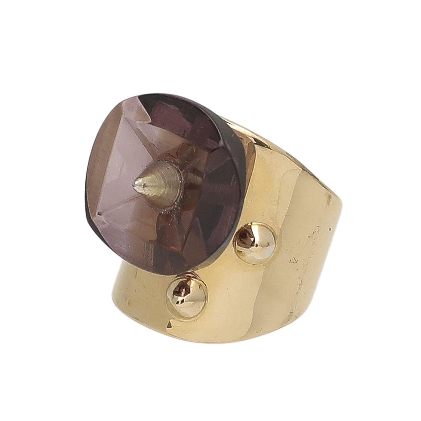 Fendi Yellow Gold Ring with Enamel Spike Detail Small