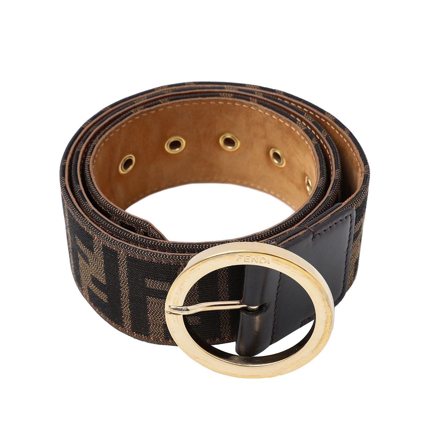 Fendi Brown Round Buckle Zucca Belt 85/34
