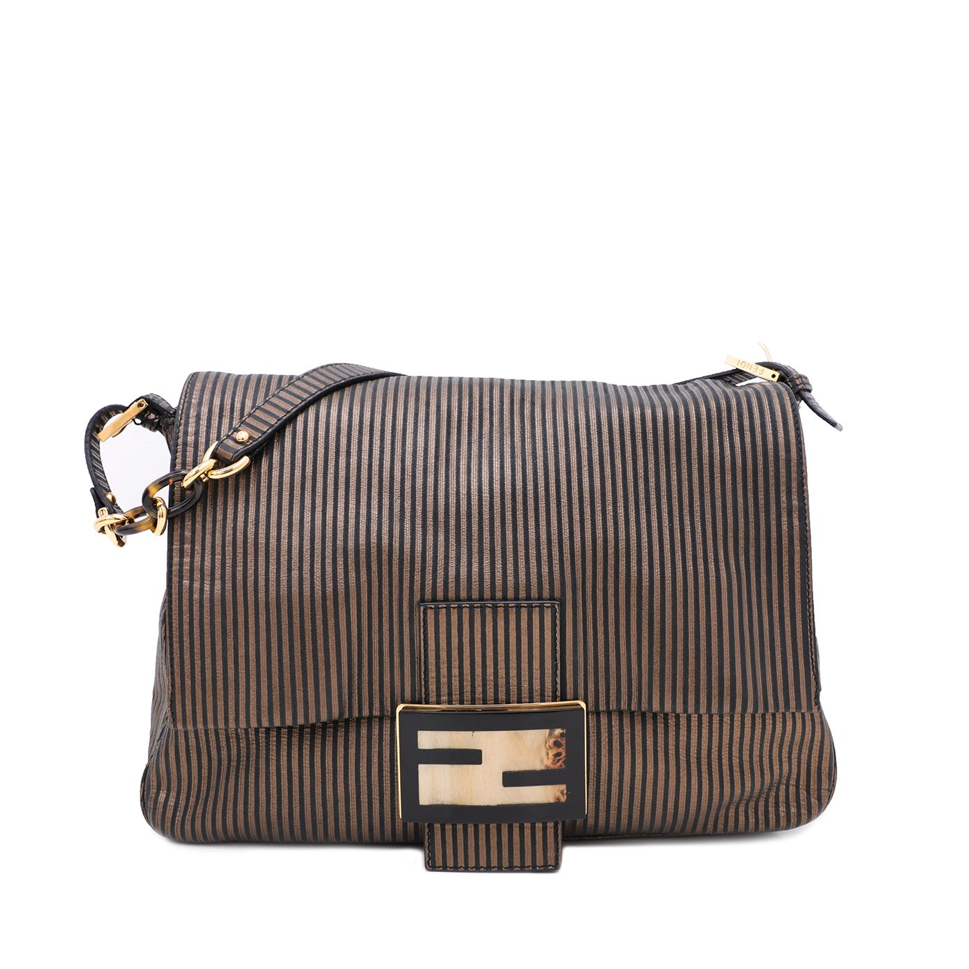Fendi Bicolor Striped Suede Mama Forever Large Shoulder Bag