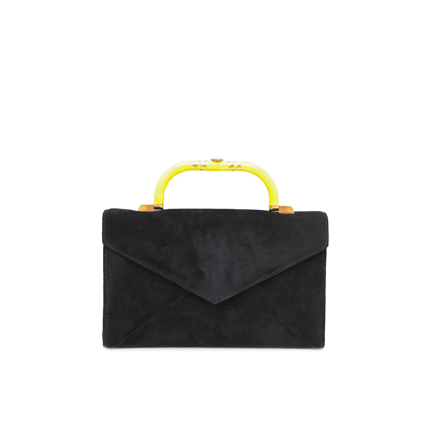 Fendi Black Suede Enamel Top Handle Clutch