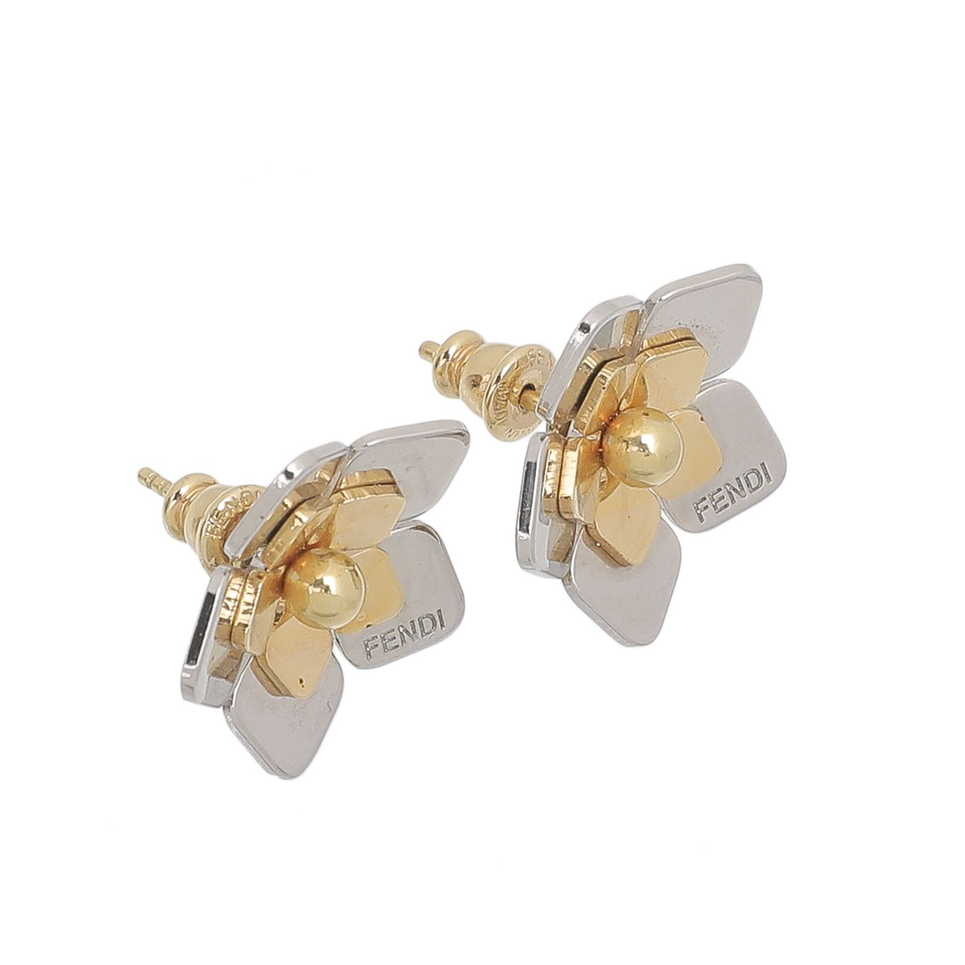 Fendi Two Tone Flower Earrings