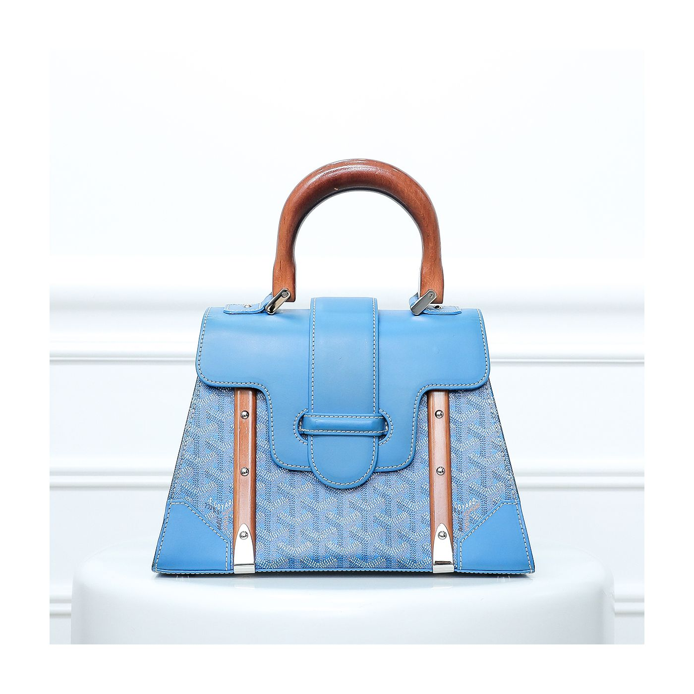 Goyard Blue Saigon Goyardine Tote PM Bag