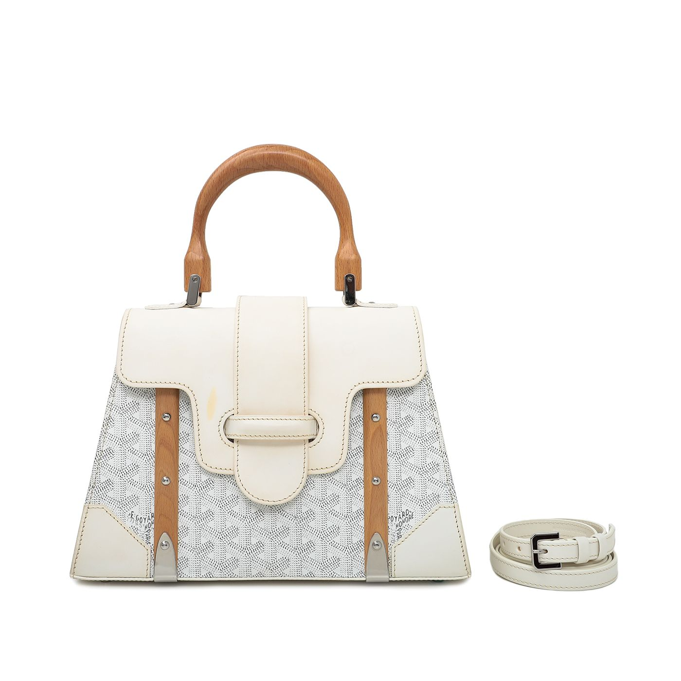 Goyard White Saigon PM Bag W/ Strap