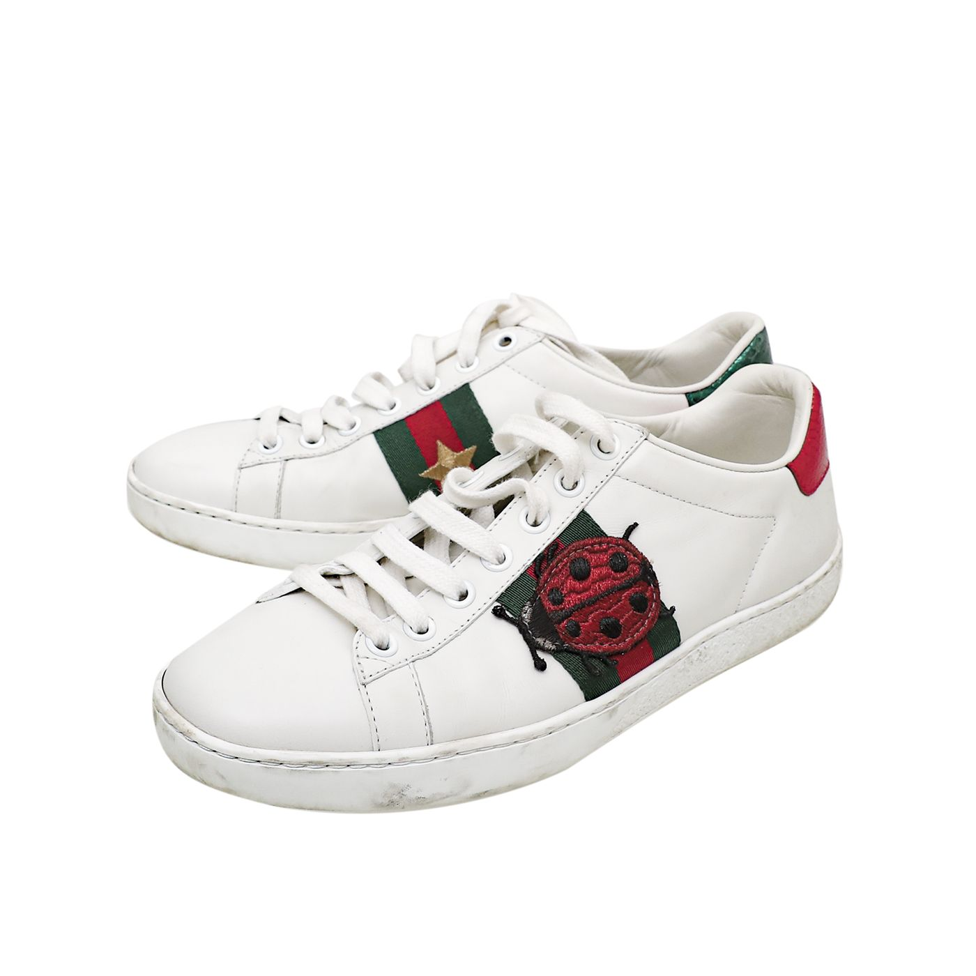 Gucci White Ace Ladybug and Pineapple Sneaker 35.5