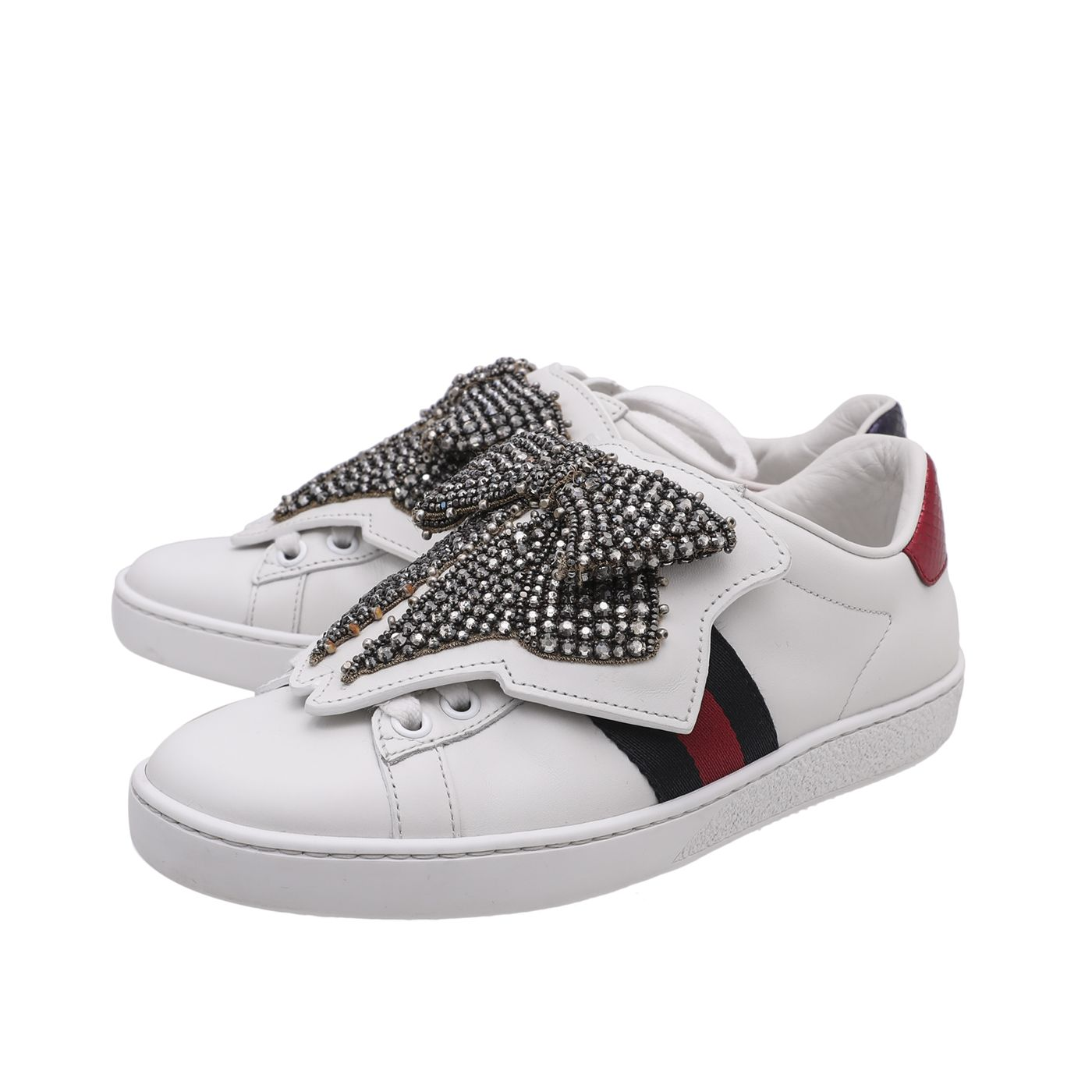Gucci Tricolor Ace Removable Crystal Bow Sneaker 34.5