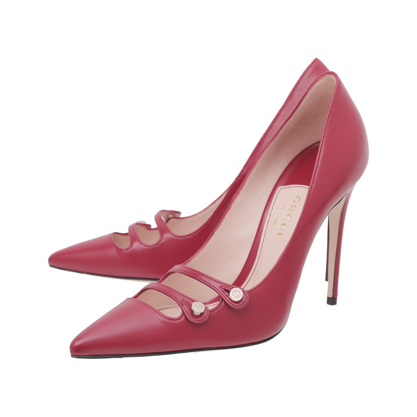 Gucci Red Aneta Double Strap Pointed Pump 37