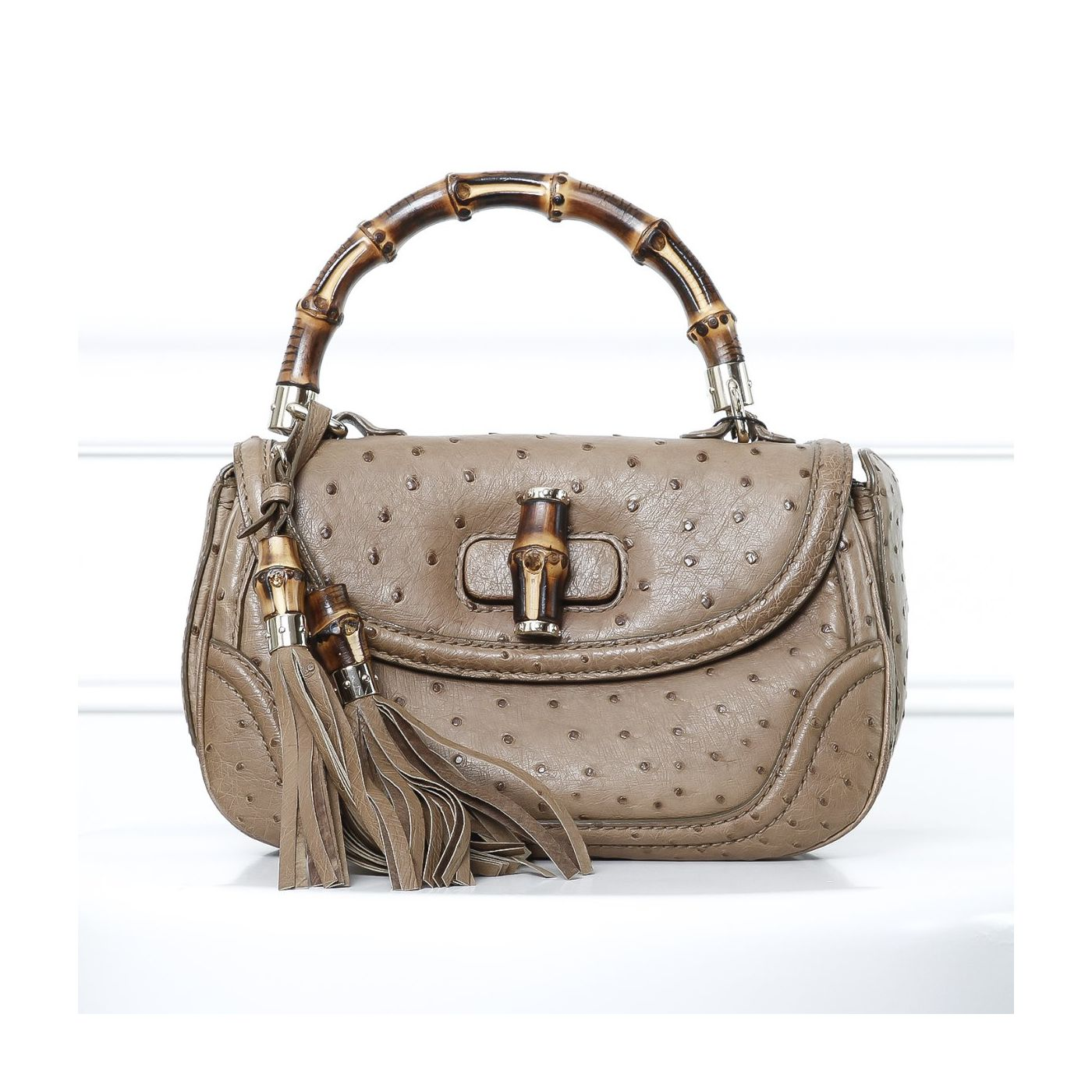 Gucci Brown Ostrich Classic Bamboo Classic Top Handle Small