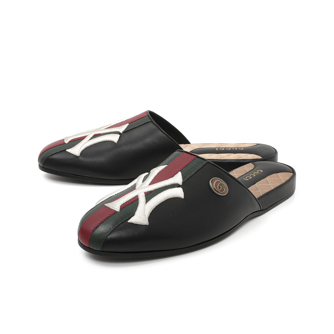 Gucci Black Unisex Yankees Slippers 38