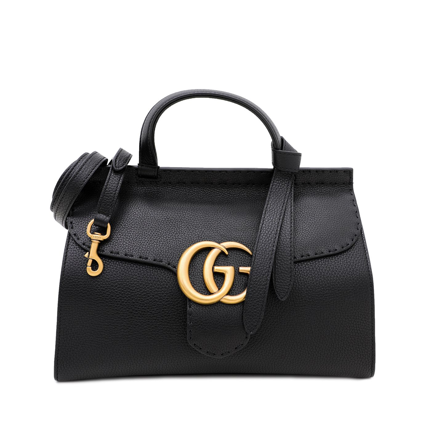 Gucci Black GG Marmont Top Handle Bag Small