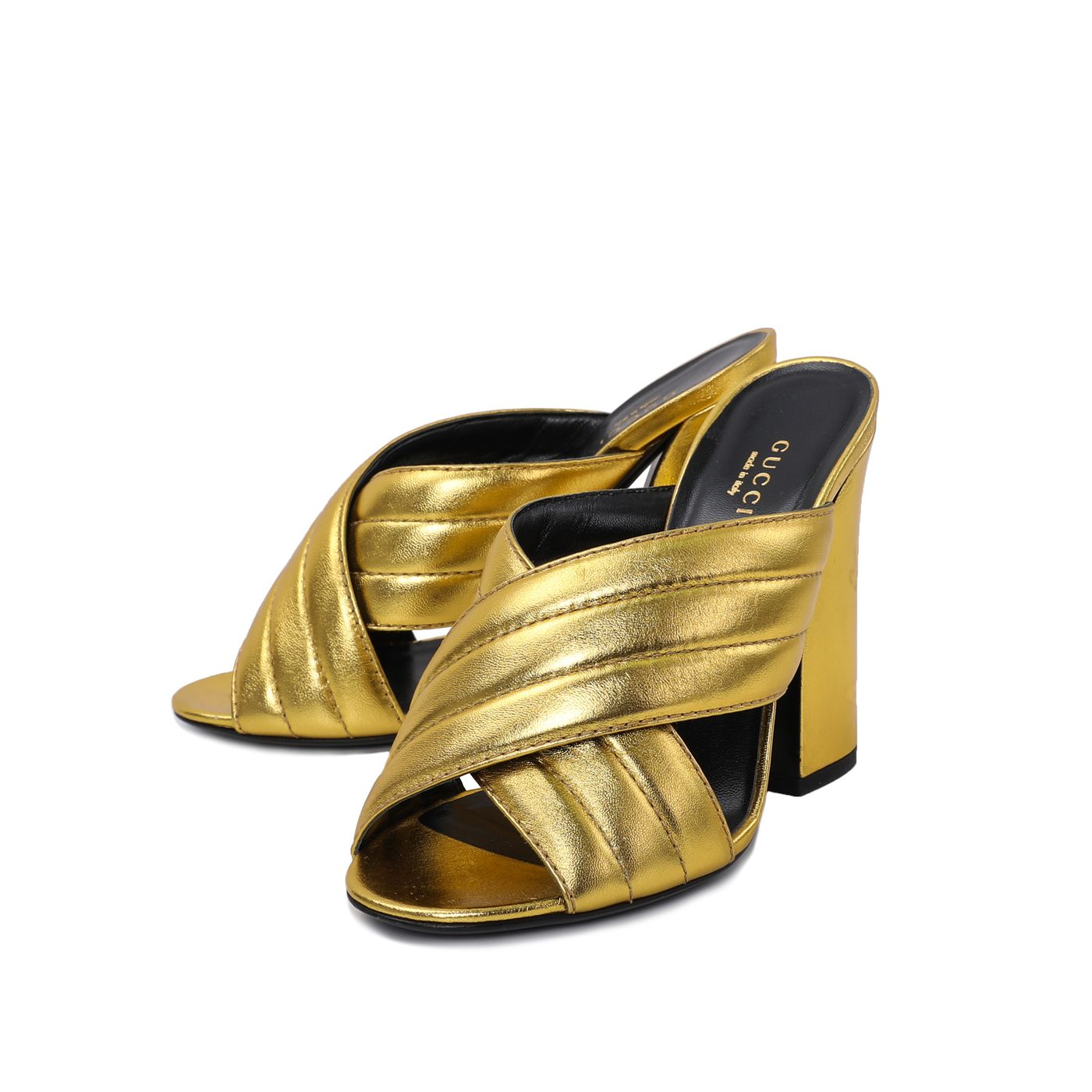 Gucci Metallic Gold Crossover Sandals 38
