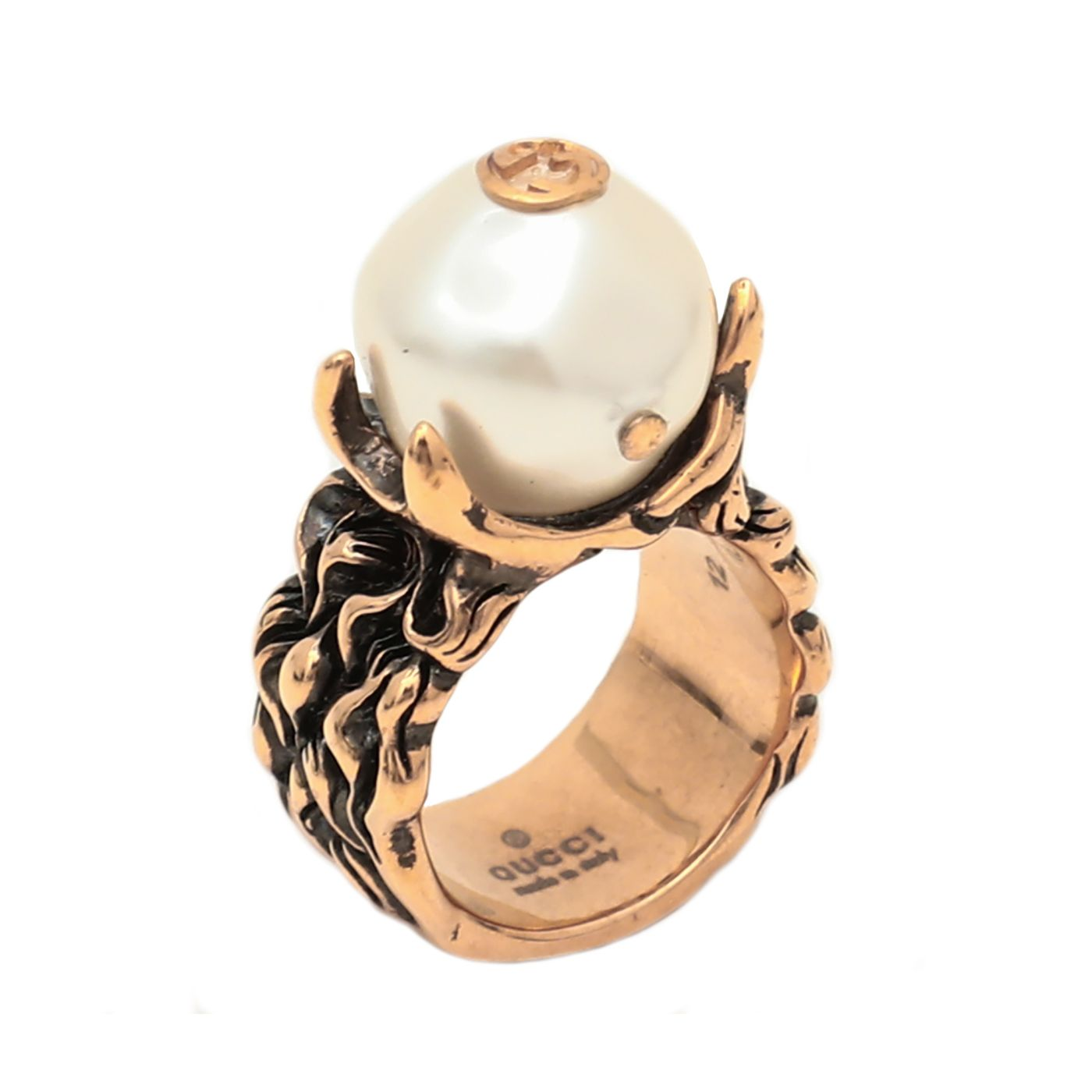 Gucci Gold Finish Crowned Pearl Ring 12