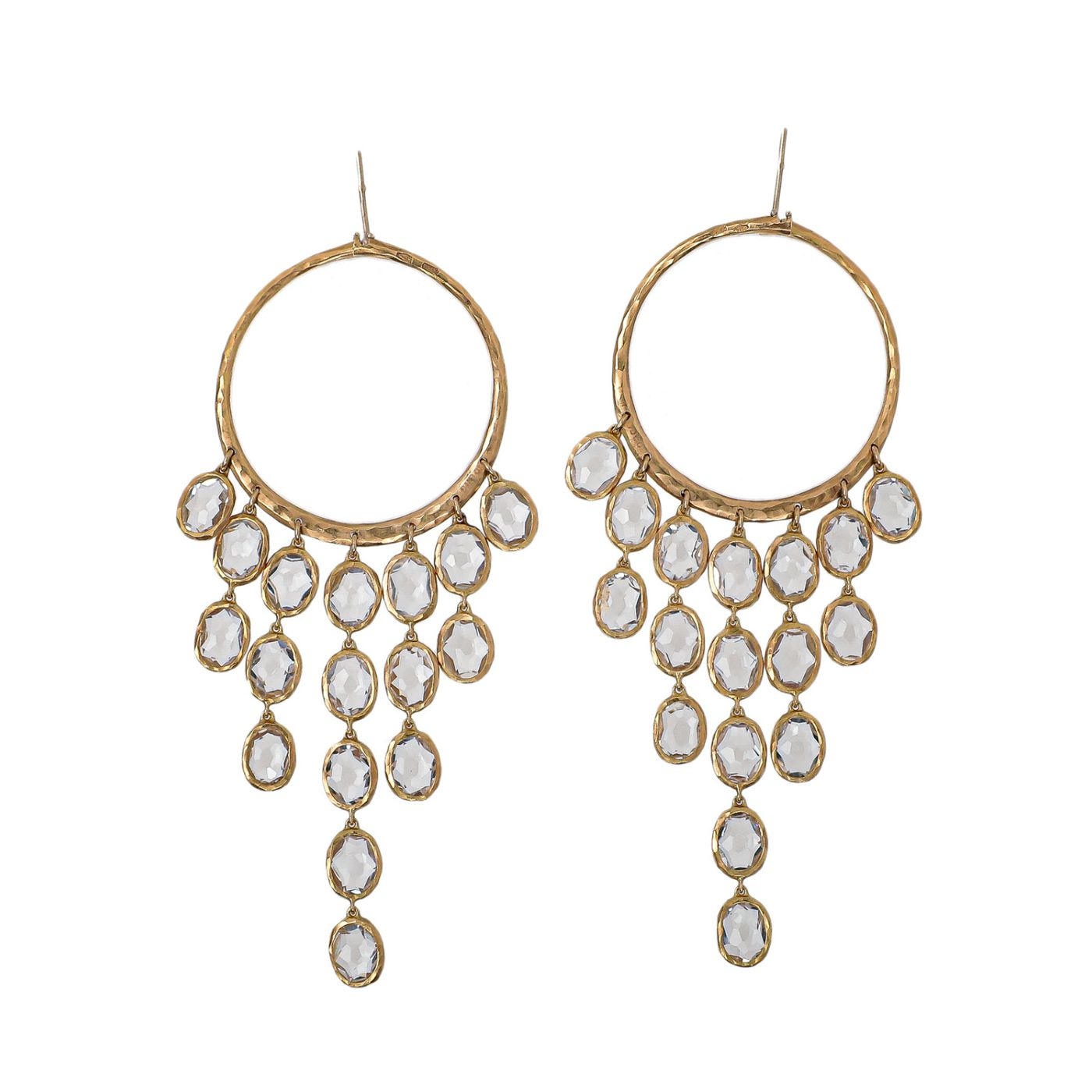 Gucci 18K Yellow Gold Crystal Hammered Dangle Hoop Earrings